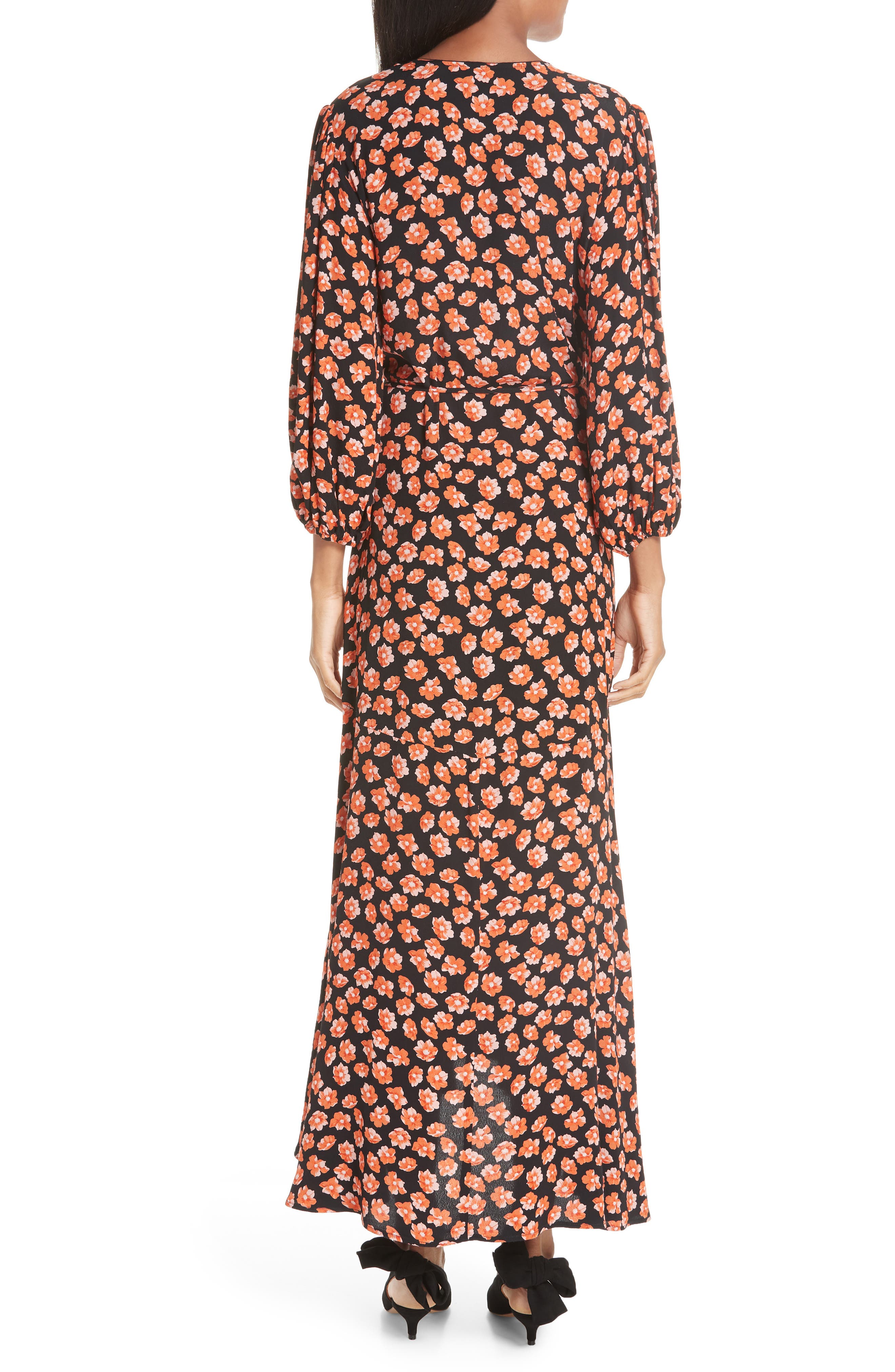 Print Crepe Dress,                             Alternate thumbnail 2, color,                             FIERY RED 403