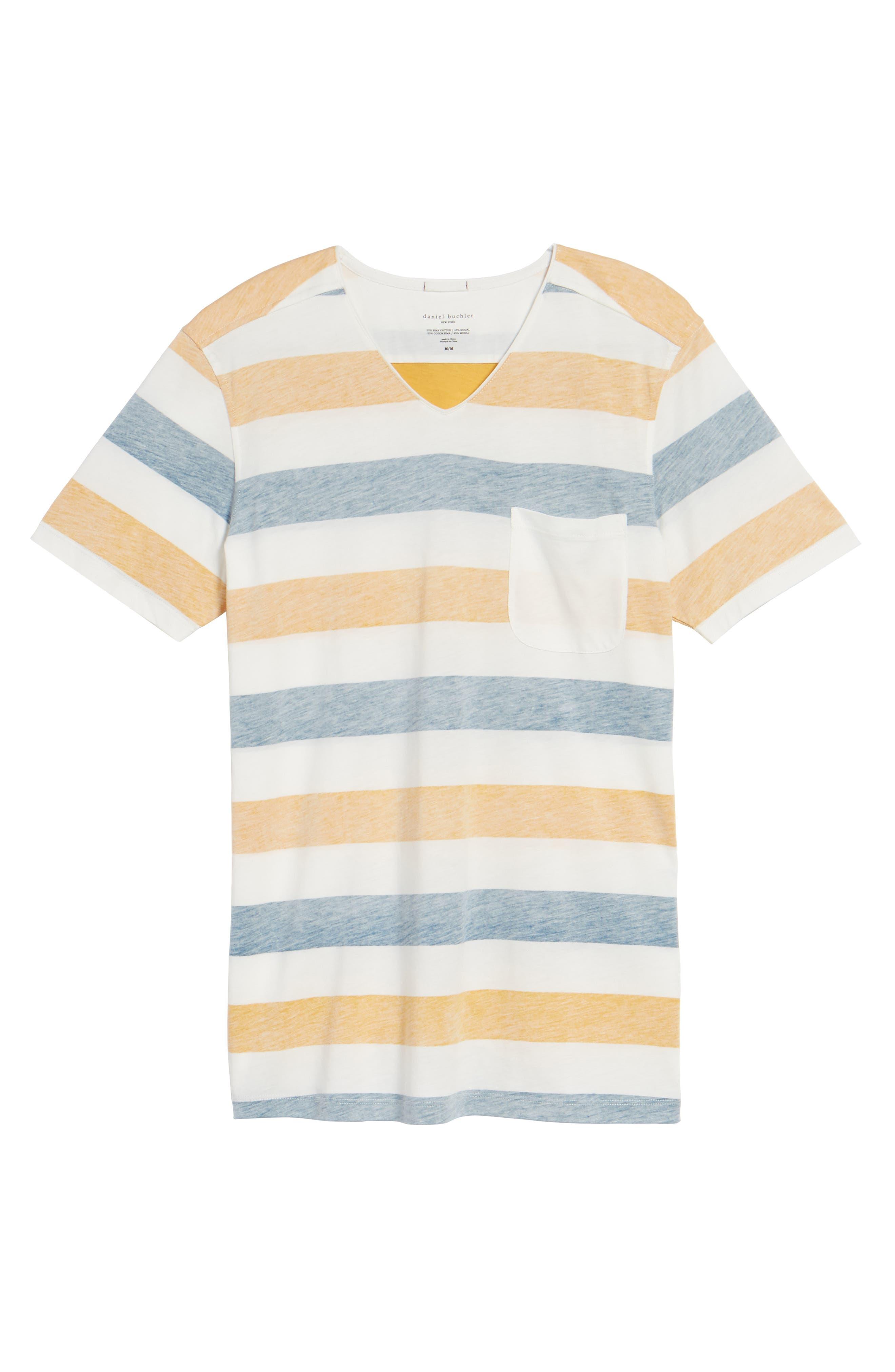 Reverse Stripe Pima Cotton & Modal V-Neck T-Shirt,                             Alternate thumbnail 6, color,                             106
