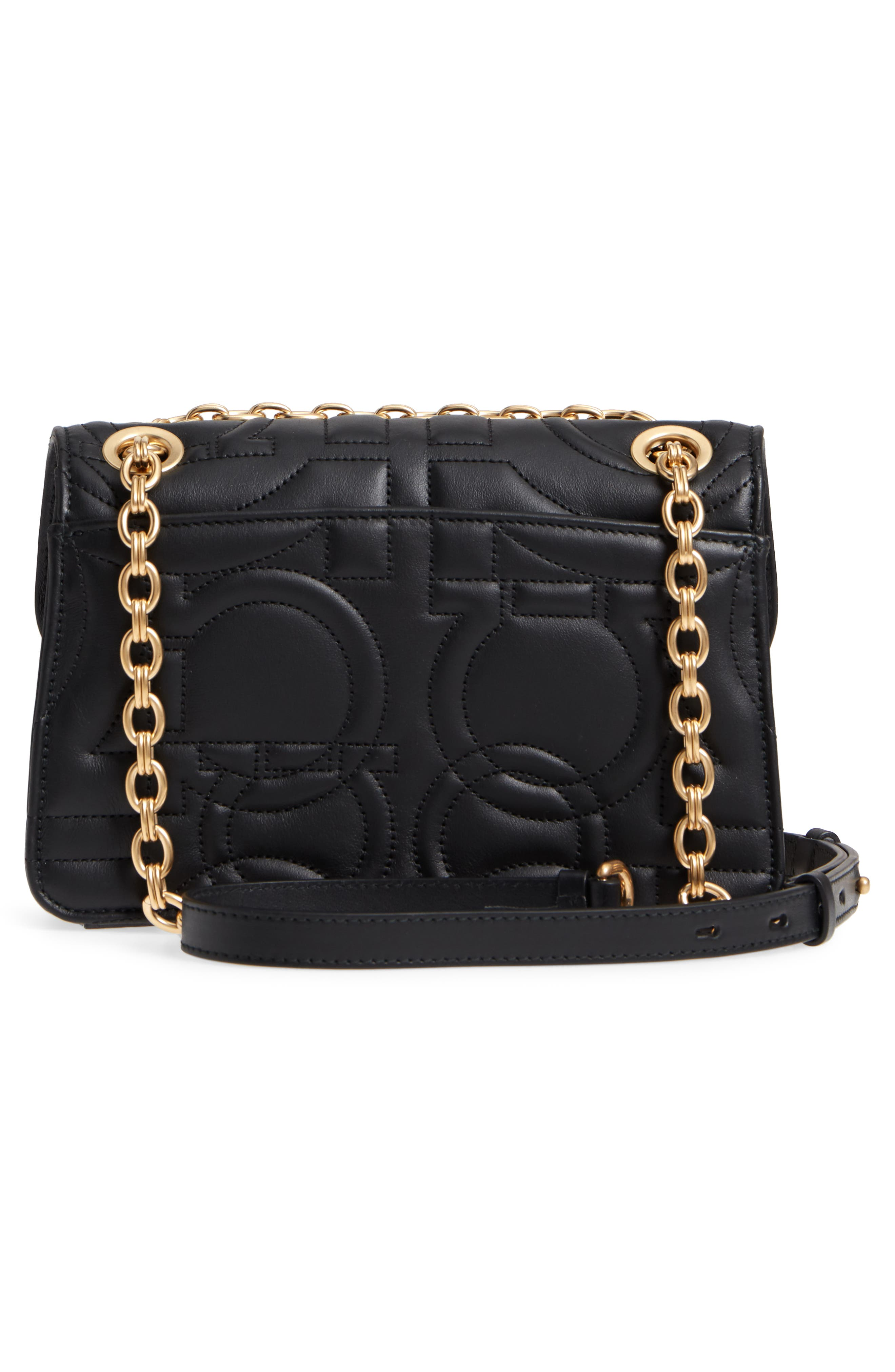 Quilted Gancio Leather Shoulder Bag,                             Alternate thumbnail 3, color,                             NERO