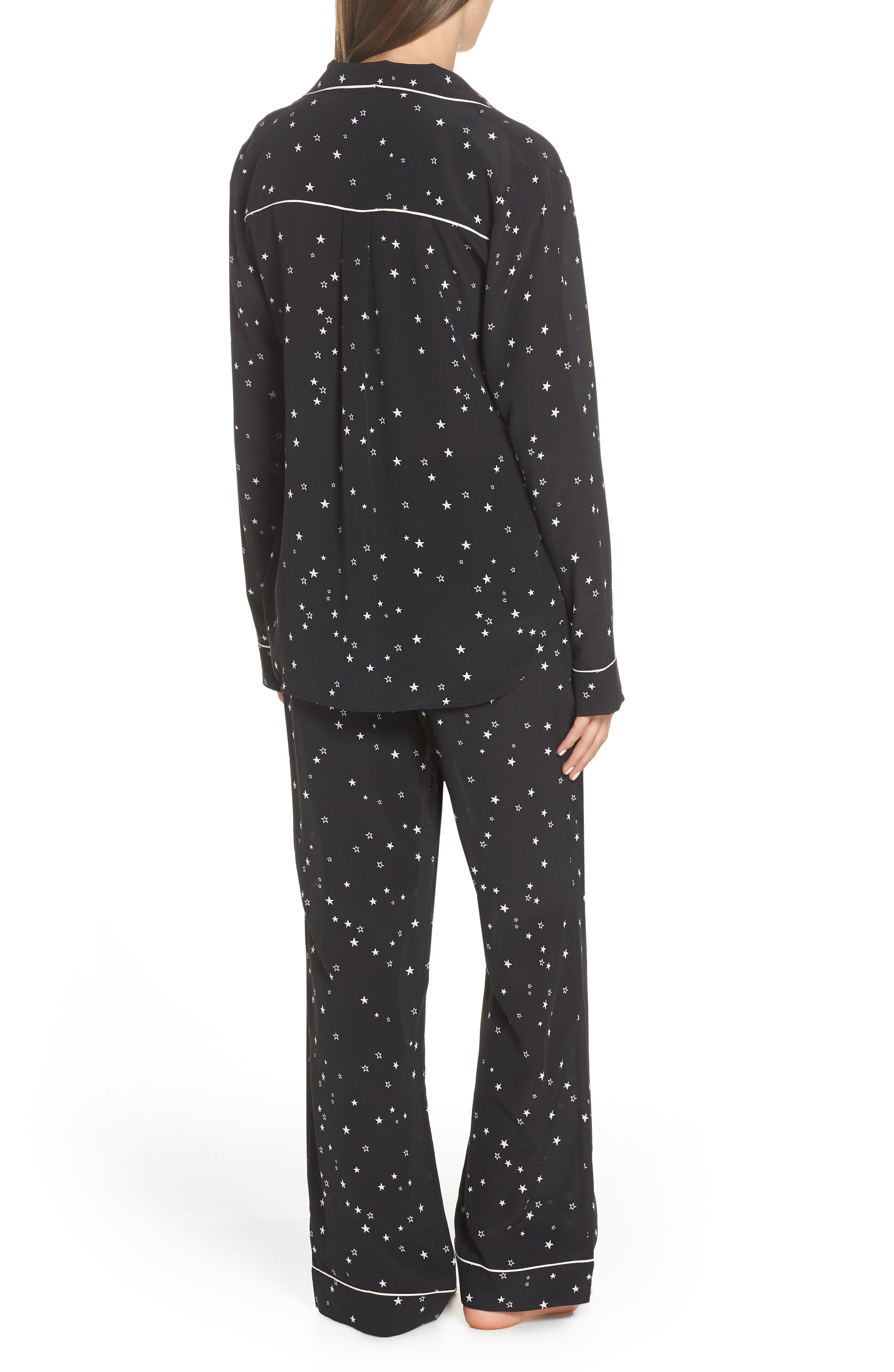 Raven Silk Pajamas,                             Alternate thumbnail 2, color,                             BLACK STARS