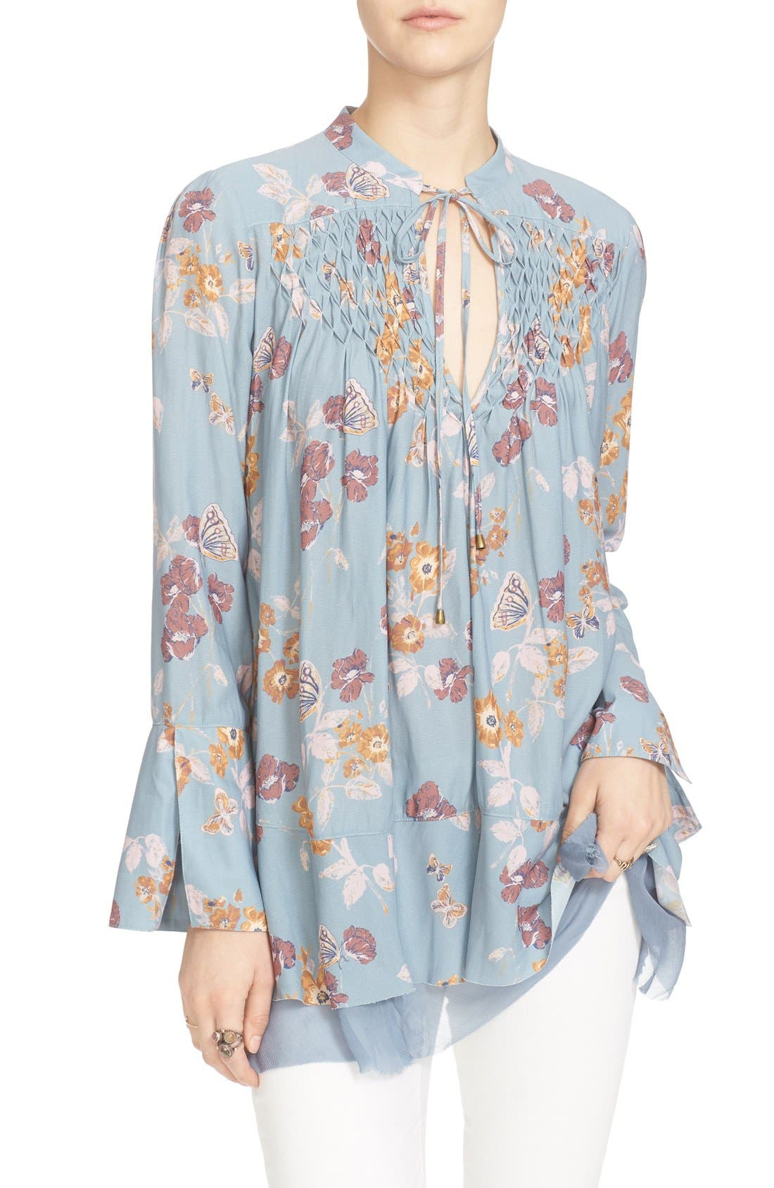 Floral Print Smocked Tunic,                             Alternate thumbnail 6, color,                             400
