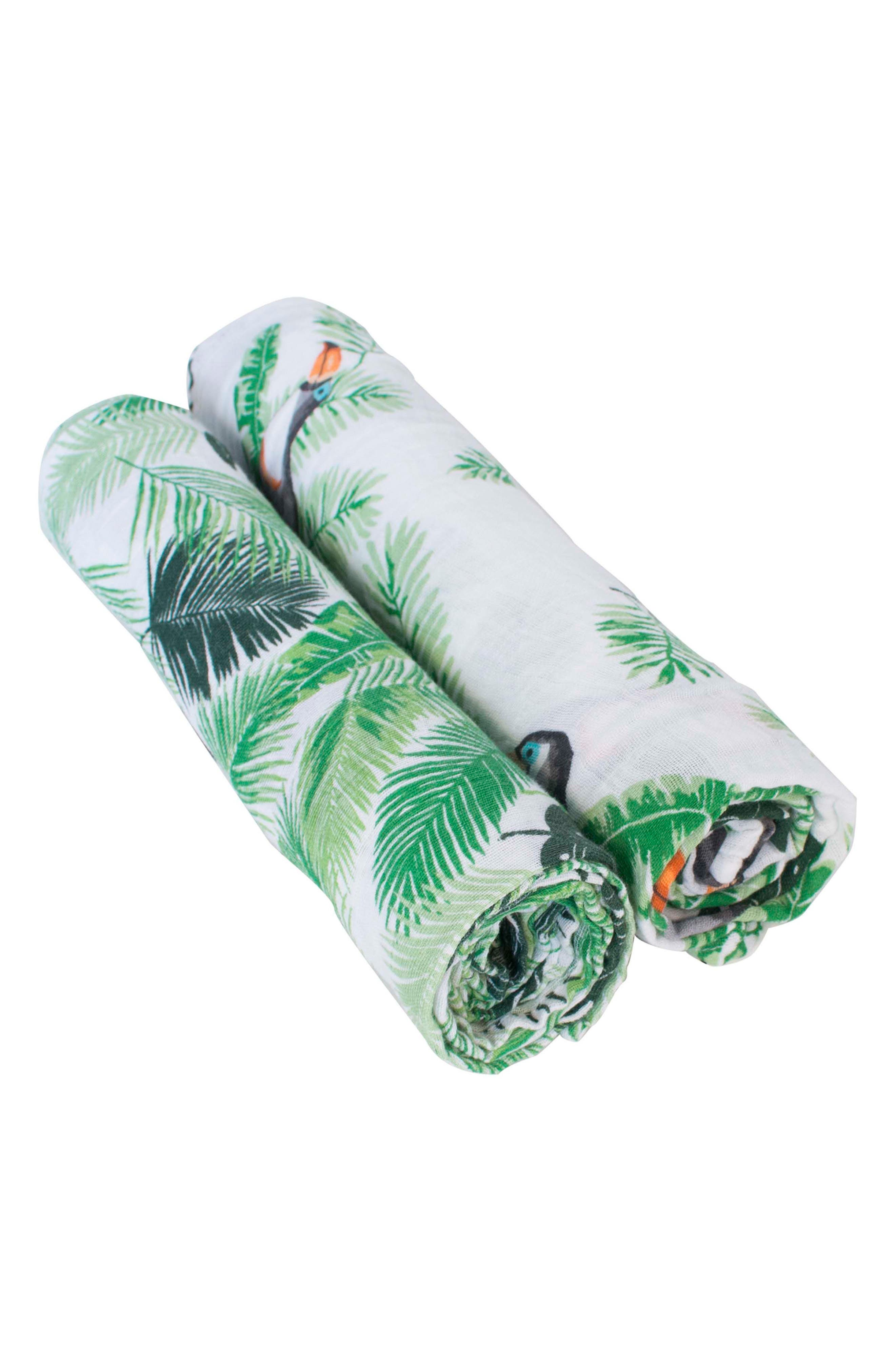 Classic 2-Pack Muslin Swaddle Blankets,                             Alternate thumbnail 2, color,                             RIO/ PALMS