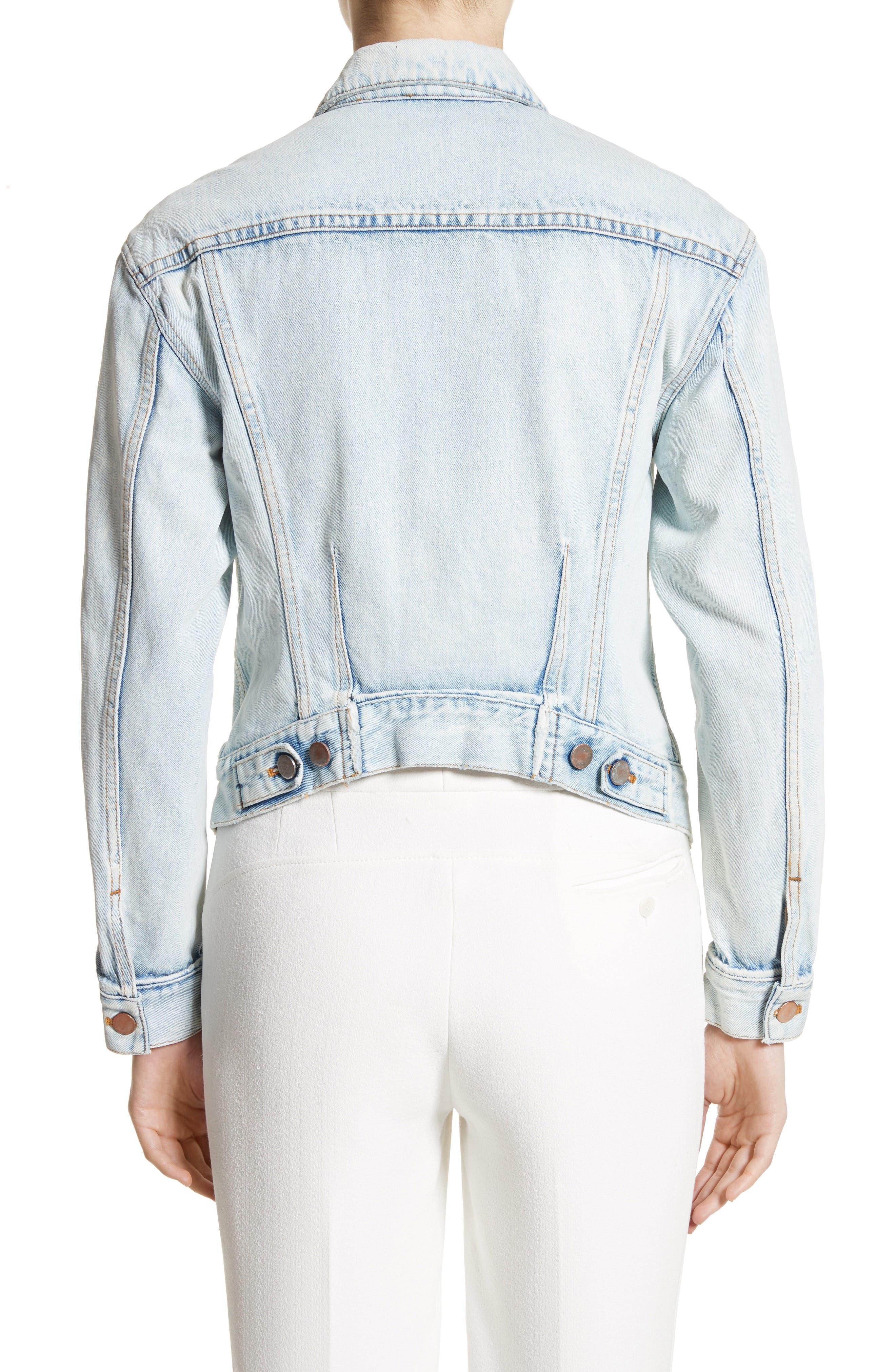 Zipper Detail Denim Jacket,                             Alternate thumbnail 2, color,