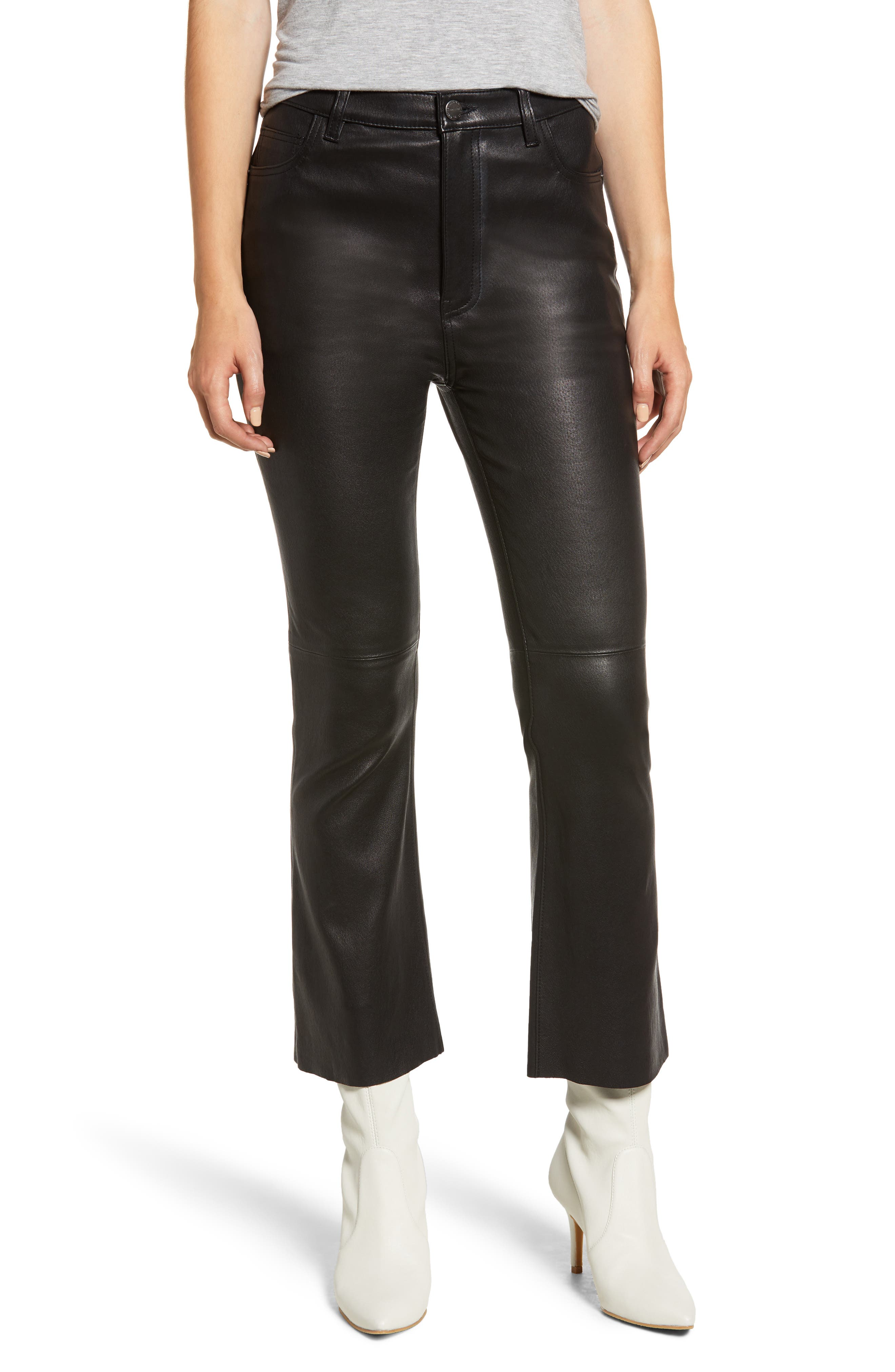 CURRENT ELLIOTT Current/Elliott High-Rise Kick Flare Leather Pants in Black W/ Raw Hem