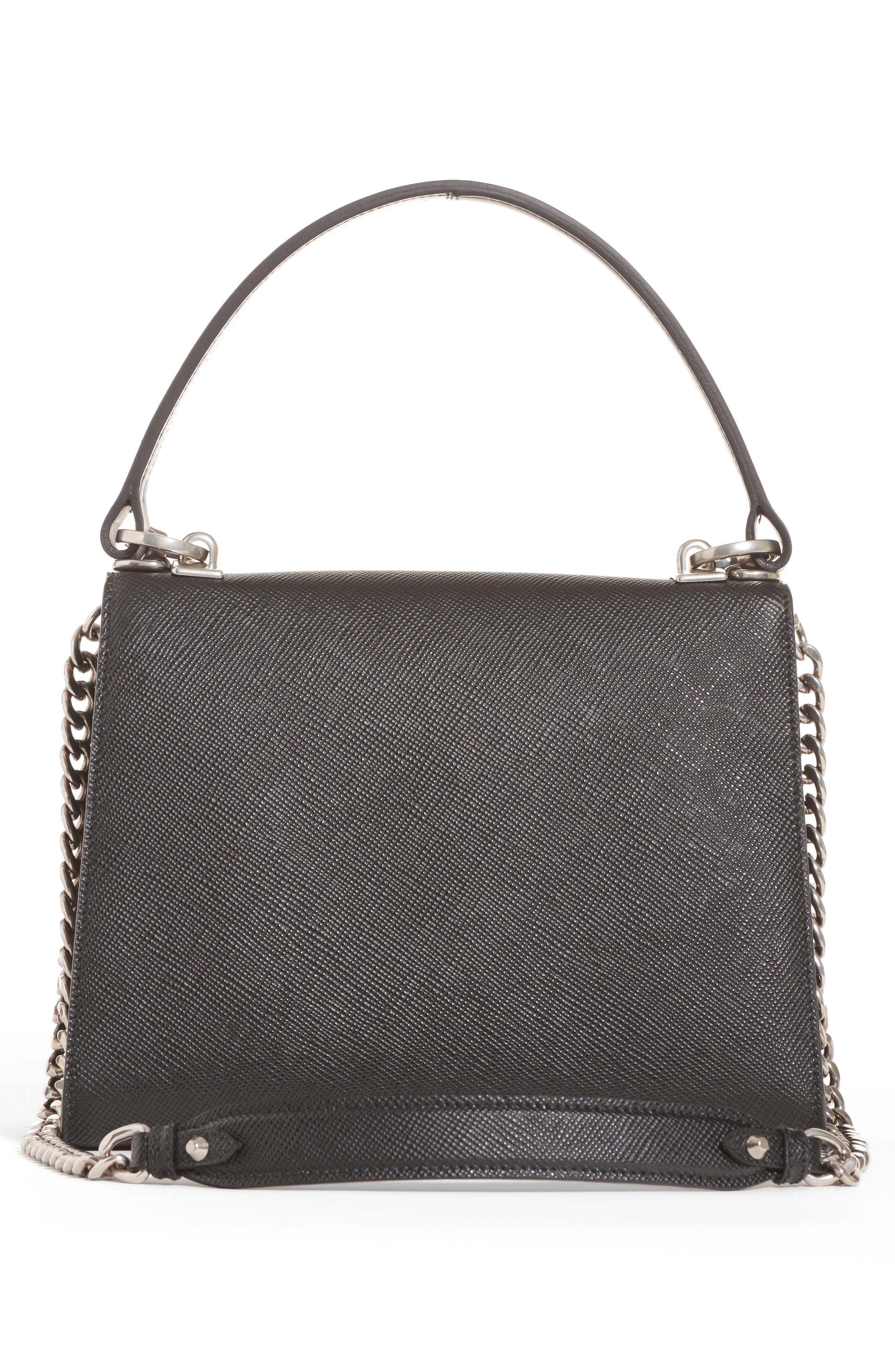Monochrome Logo Top Handle Leather Handbag,                             Alternate thumbnail 2, color,                             NERO