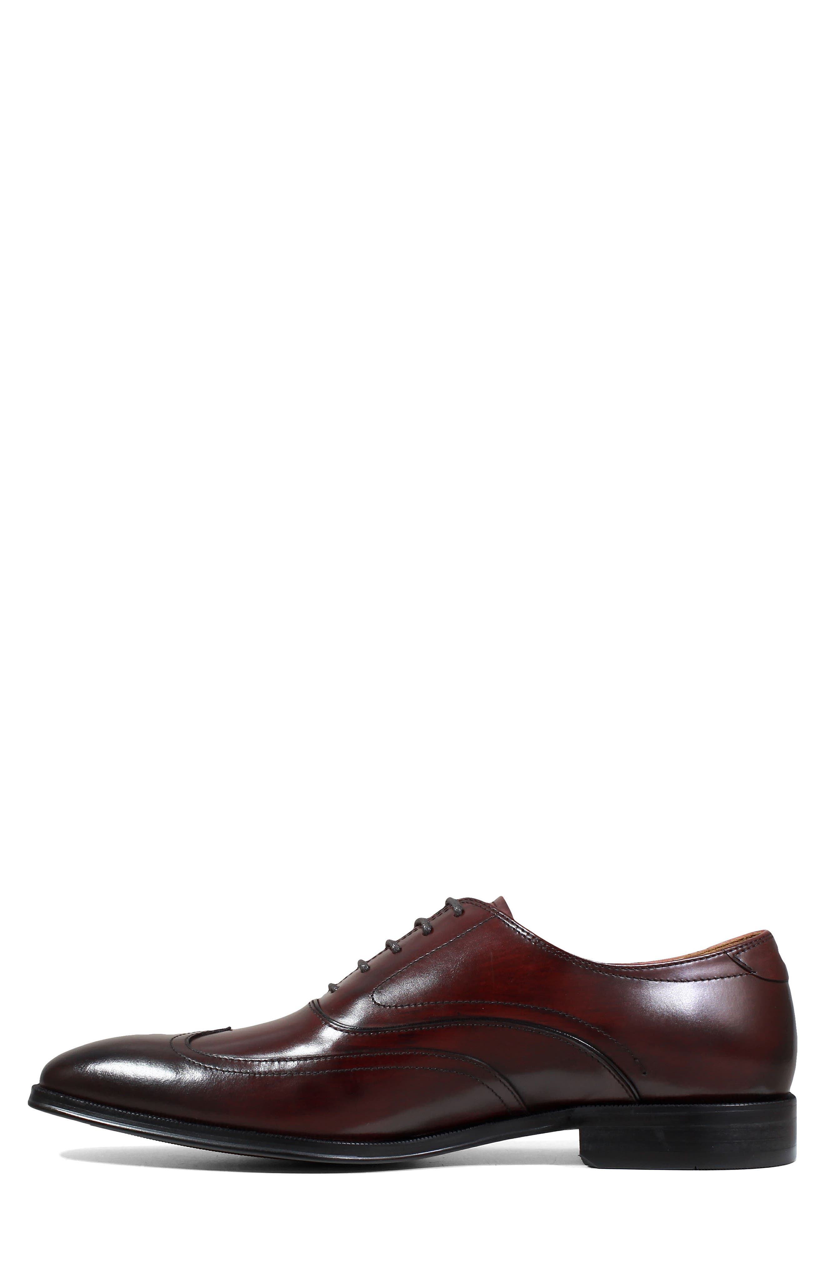 Belfast Wingtip,                             Alternate thumbnail 7, color,                             BURGUNDY LEATHER