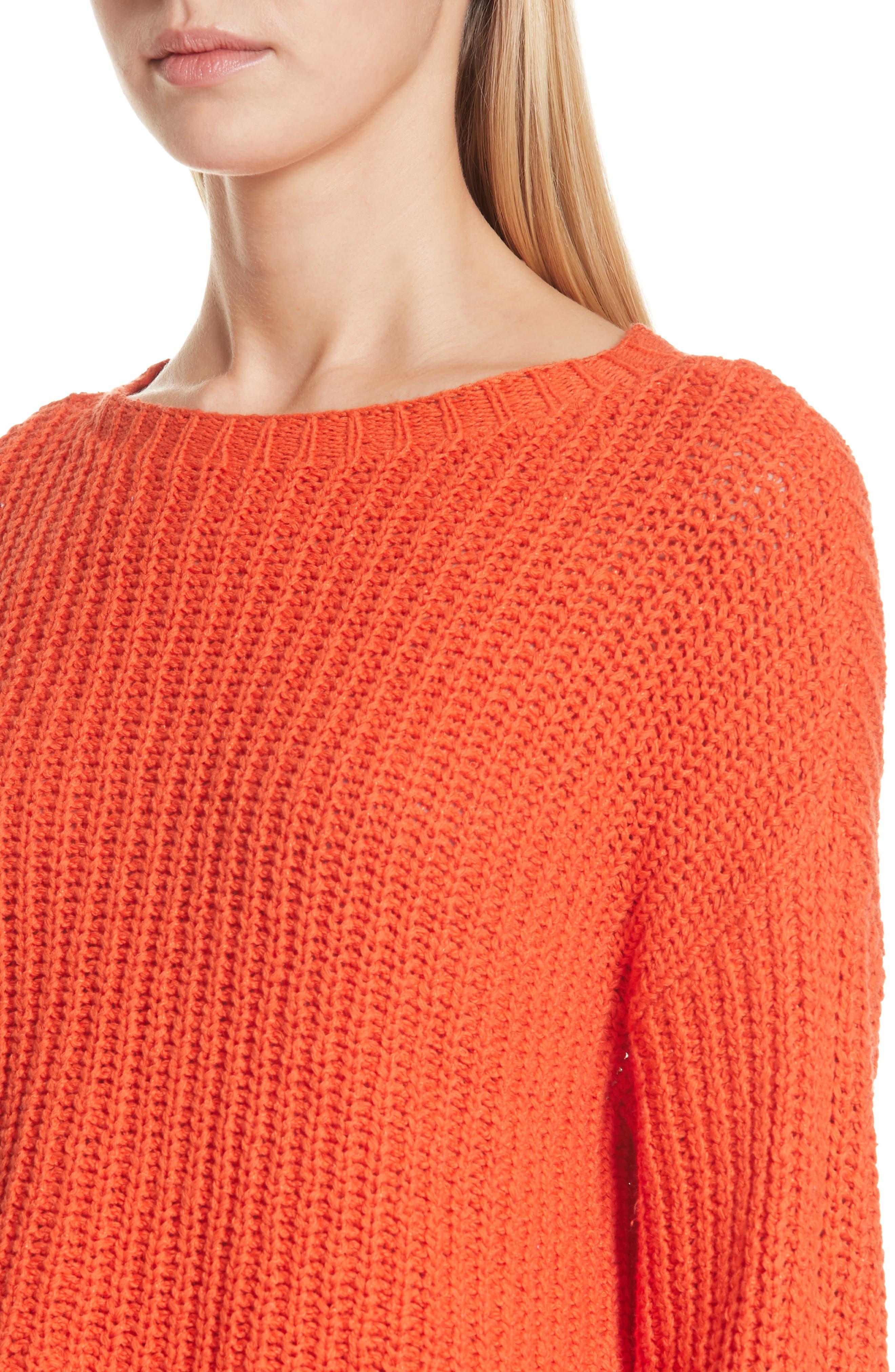 Crewneck Crop Shaker Sweater,                             Alternate thumbnail 4, color,                             HOT RED