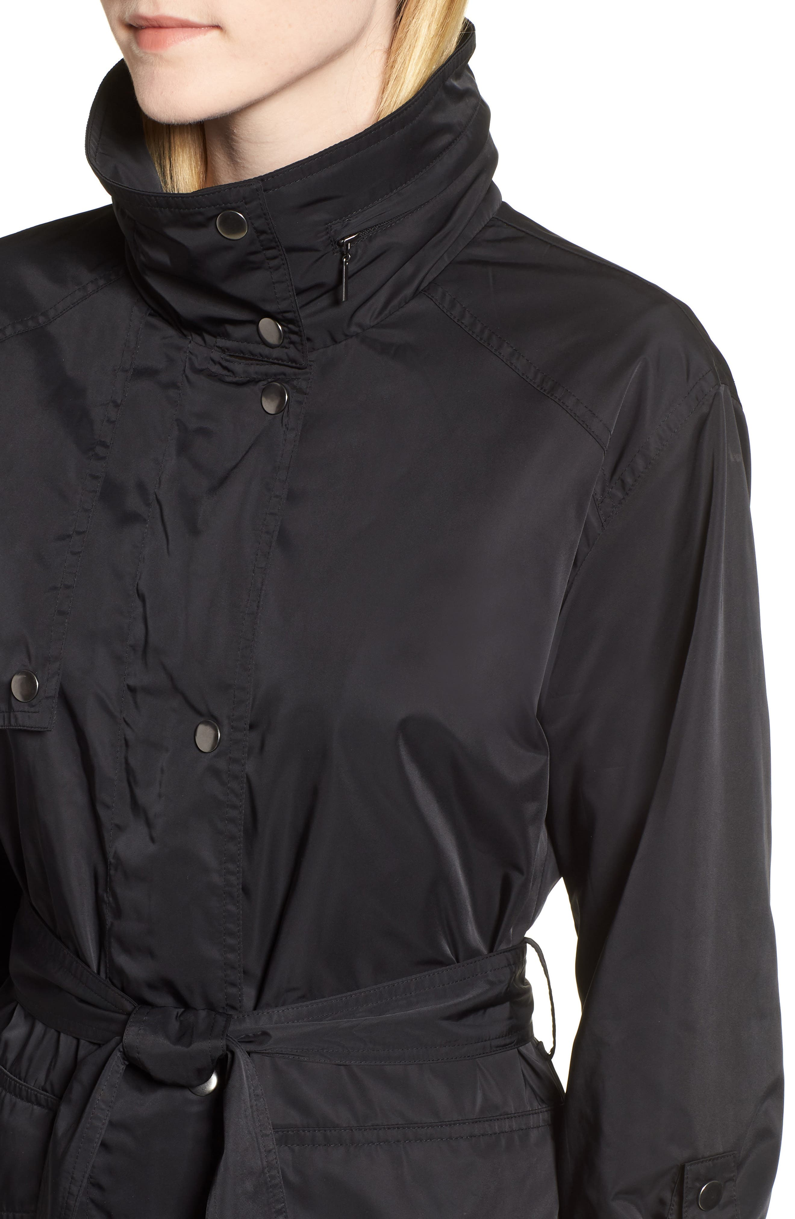 HALOGEN<SUP>®</SUP>,                             Lightweight Trench Coat,                             Alternate thumbnail 4, color,                             BLACK