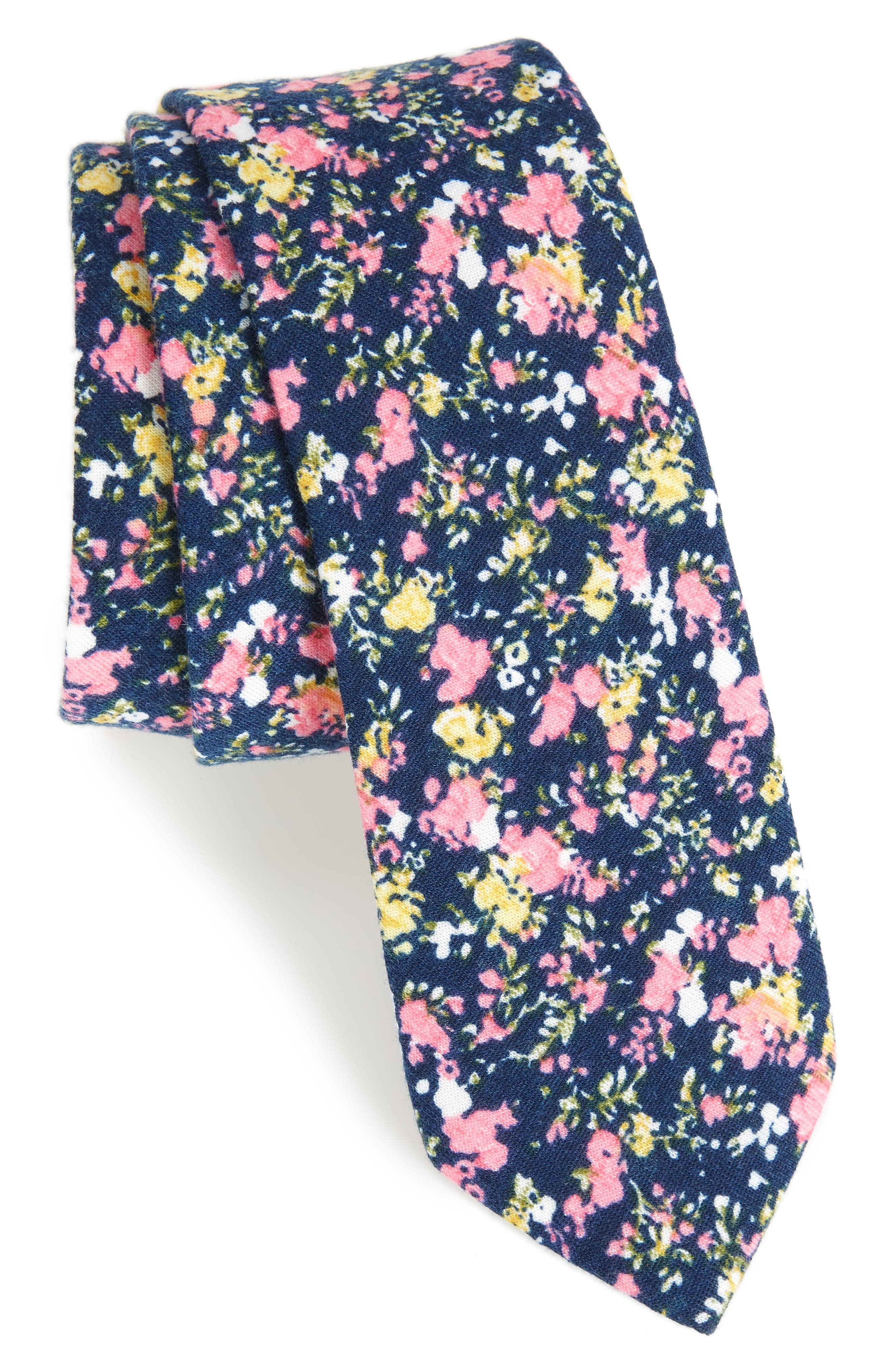 Selwyn Floral Skinny Tie,                         Main,                         color, 400