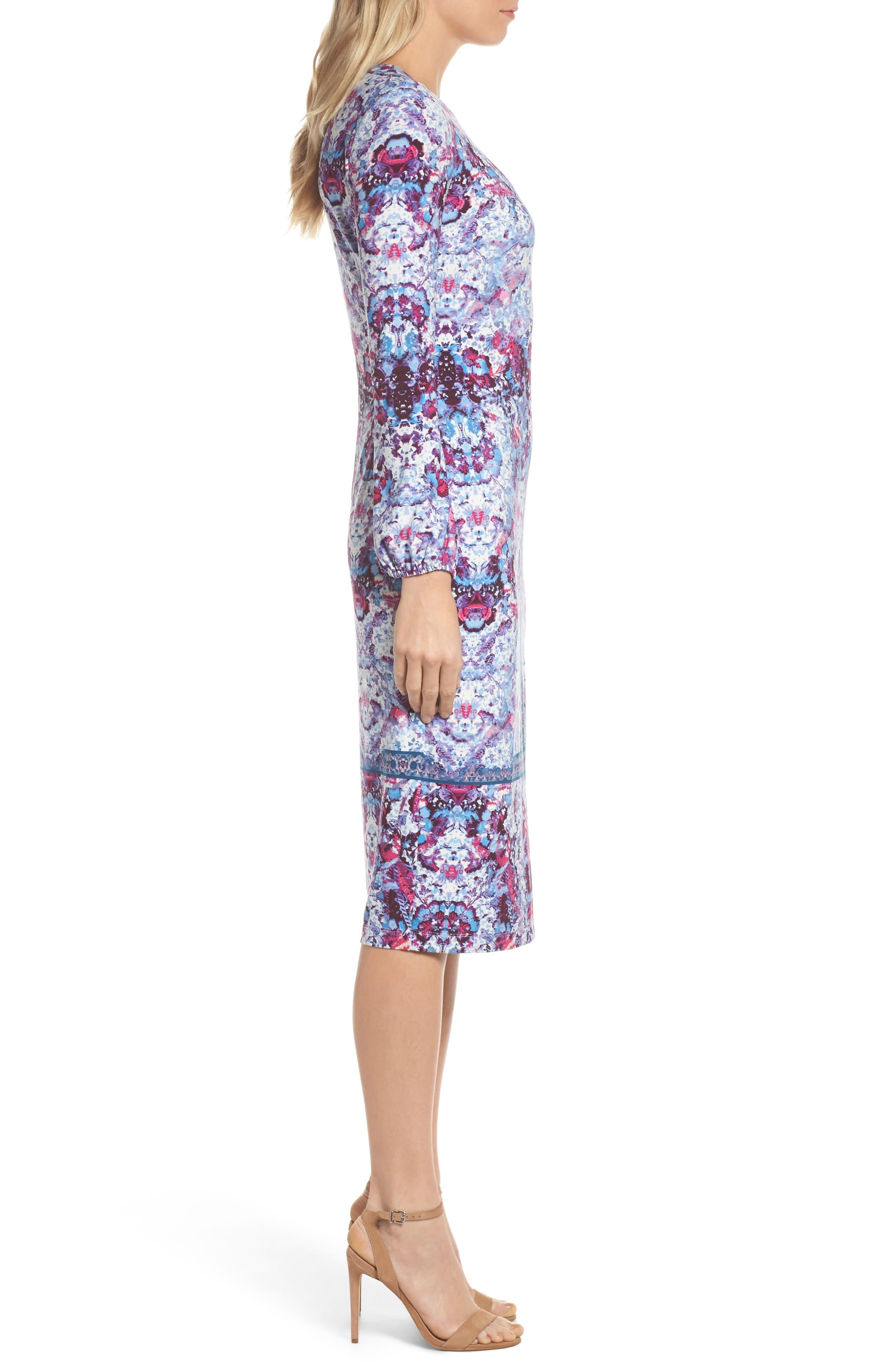 Midi Sheath Dress,                             Alternate thumbnail 3, color,                             595