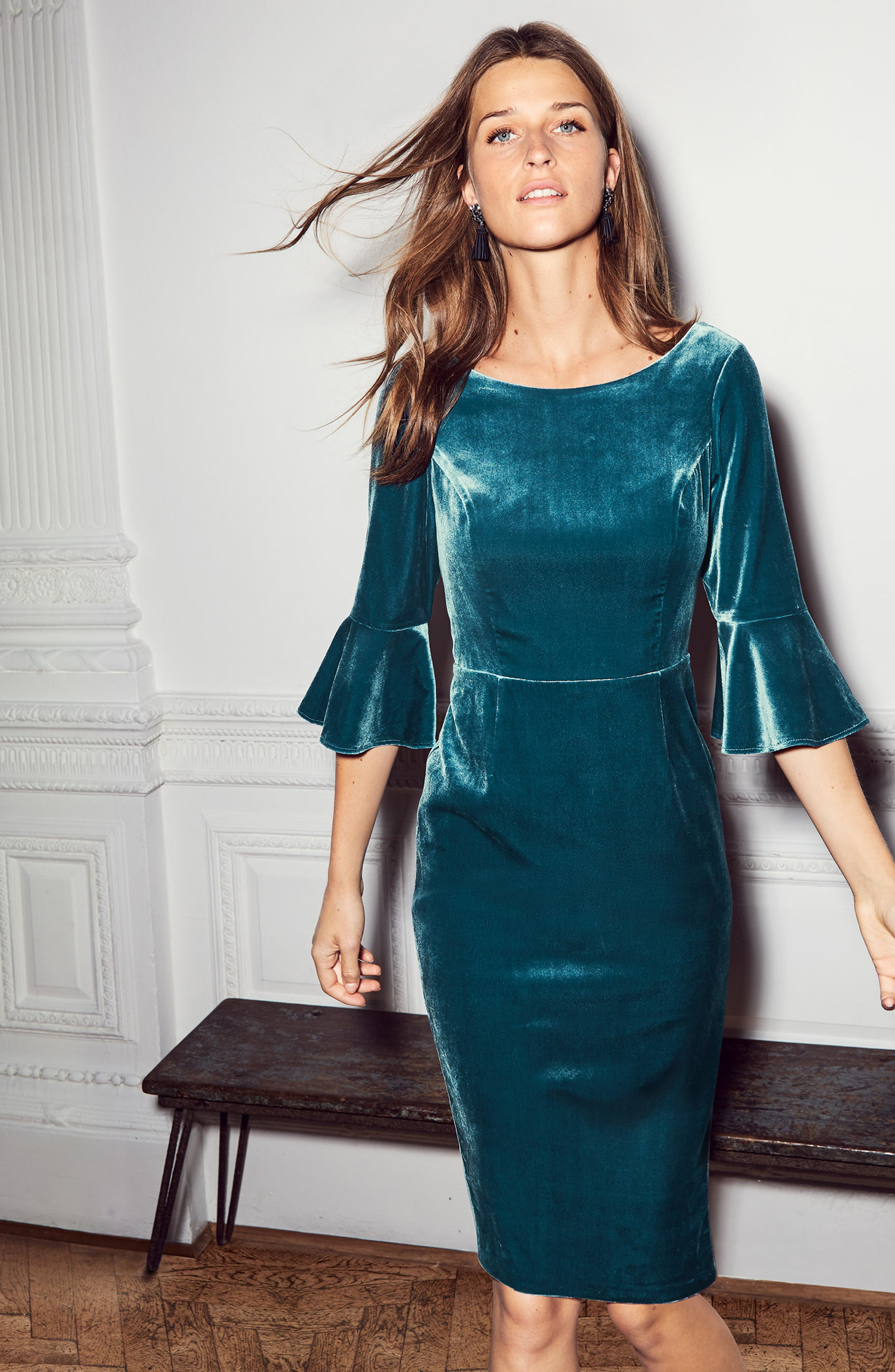Aubrey Flounce Sleeve Velvet Dress,                             Alternate thumbnail 2, color,                             424