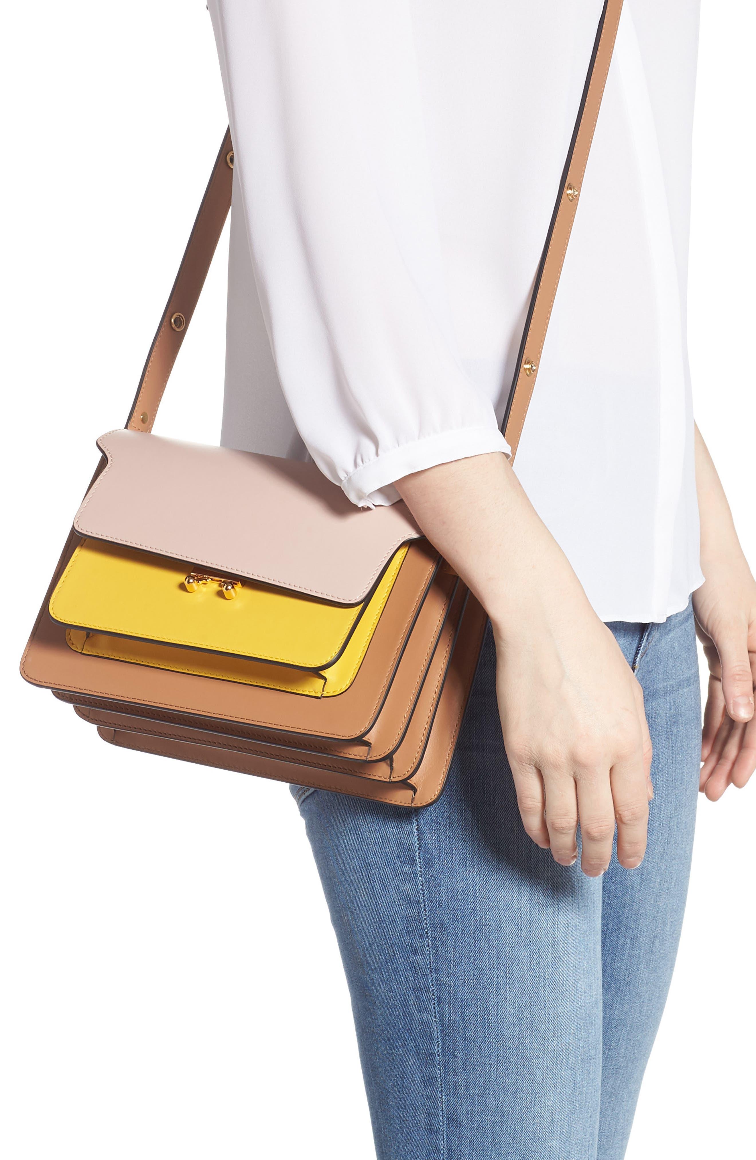 MARNI,                             Trunk Colorblock Leather Shoulder Bag,                             Alternate thumbnail 2, color,                             QUARTZ/ SUNO/ POMPEII