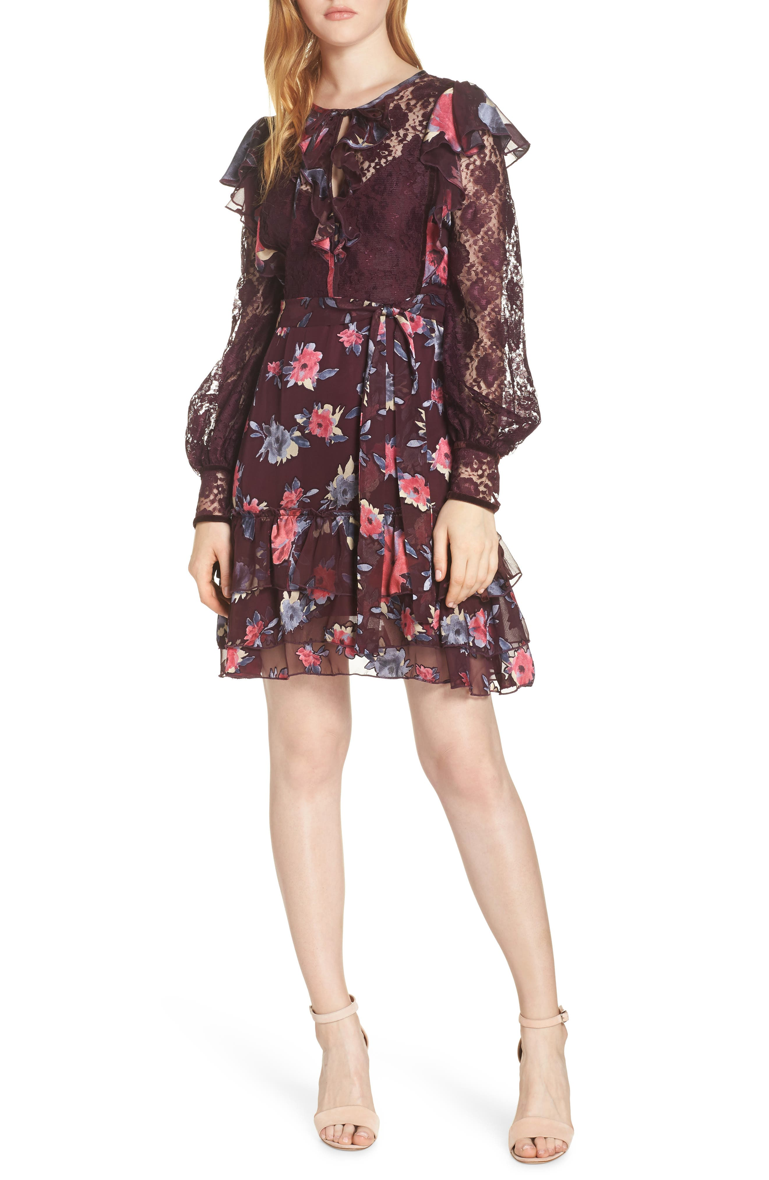 French Connection Edith Lace & Ruffle Floral Dress, Black