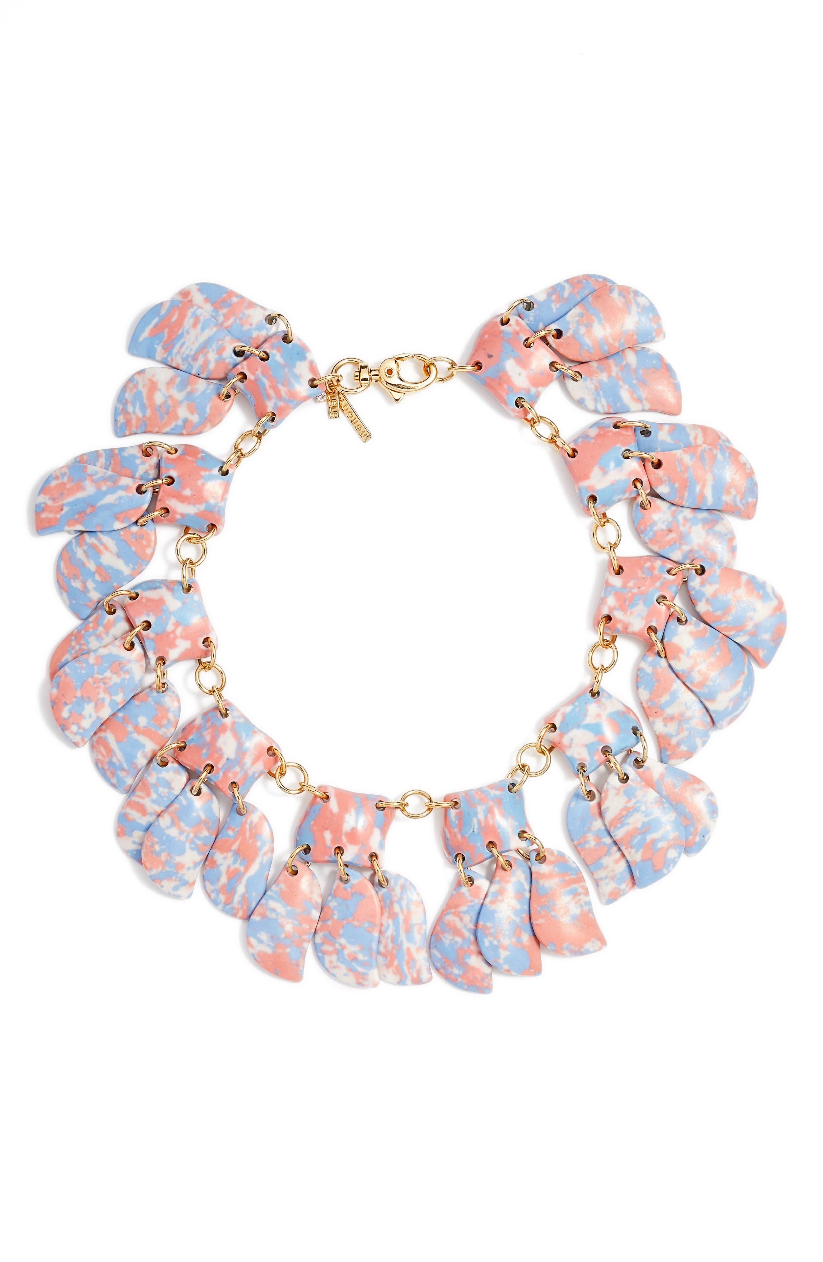 Iris Petal Collar Necklace,                             Main thumbnail 1, color,                             SUNSET BLUE