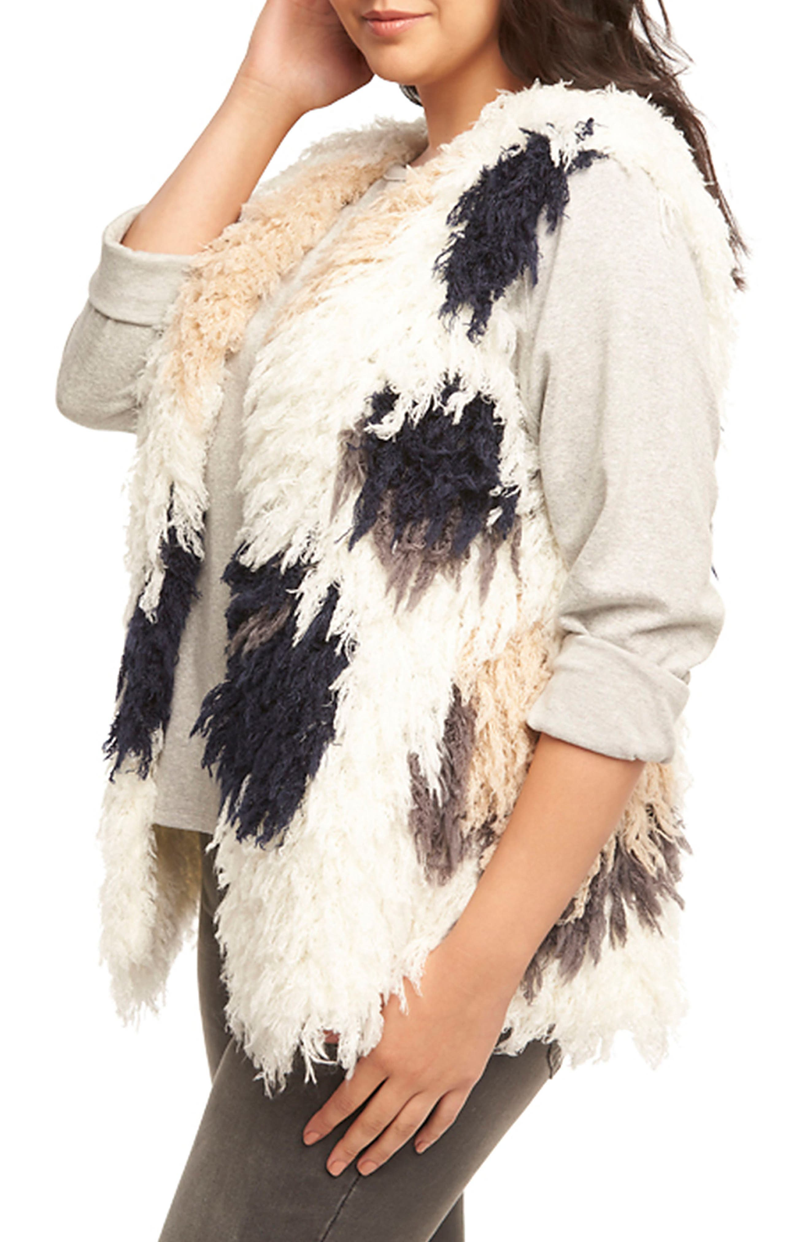 Mave Spot Shaggy Faux Fur Vest,                             Alternate thumbnail 3, color,                             470