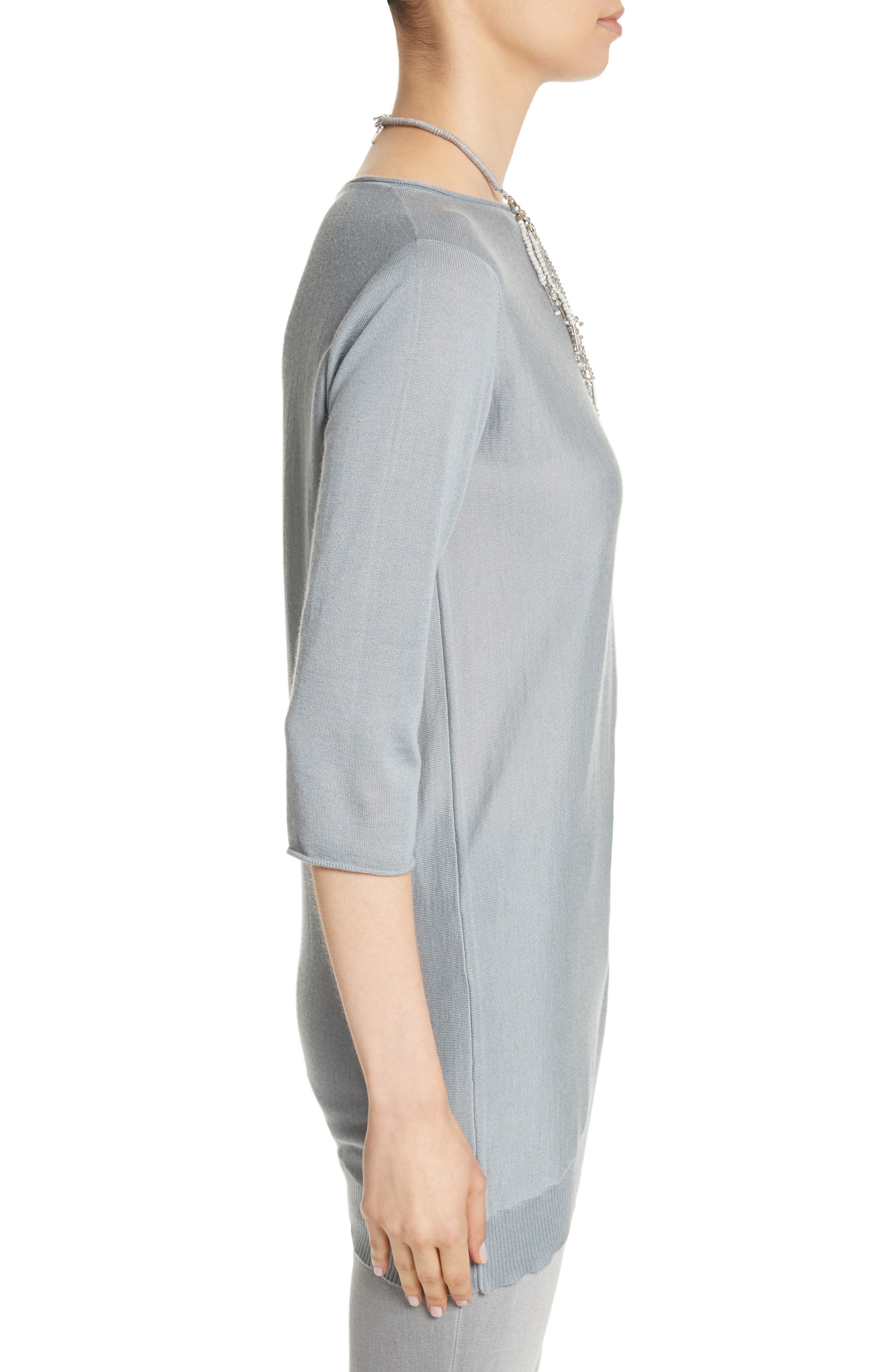 Cashmere & Silk Drape Sweater,                             Alternate thumbnail 3, color,                             400
