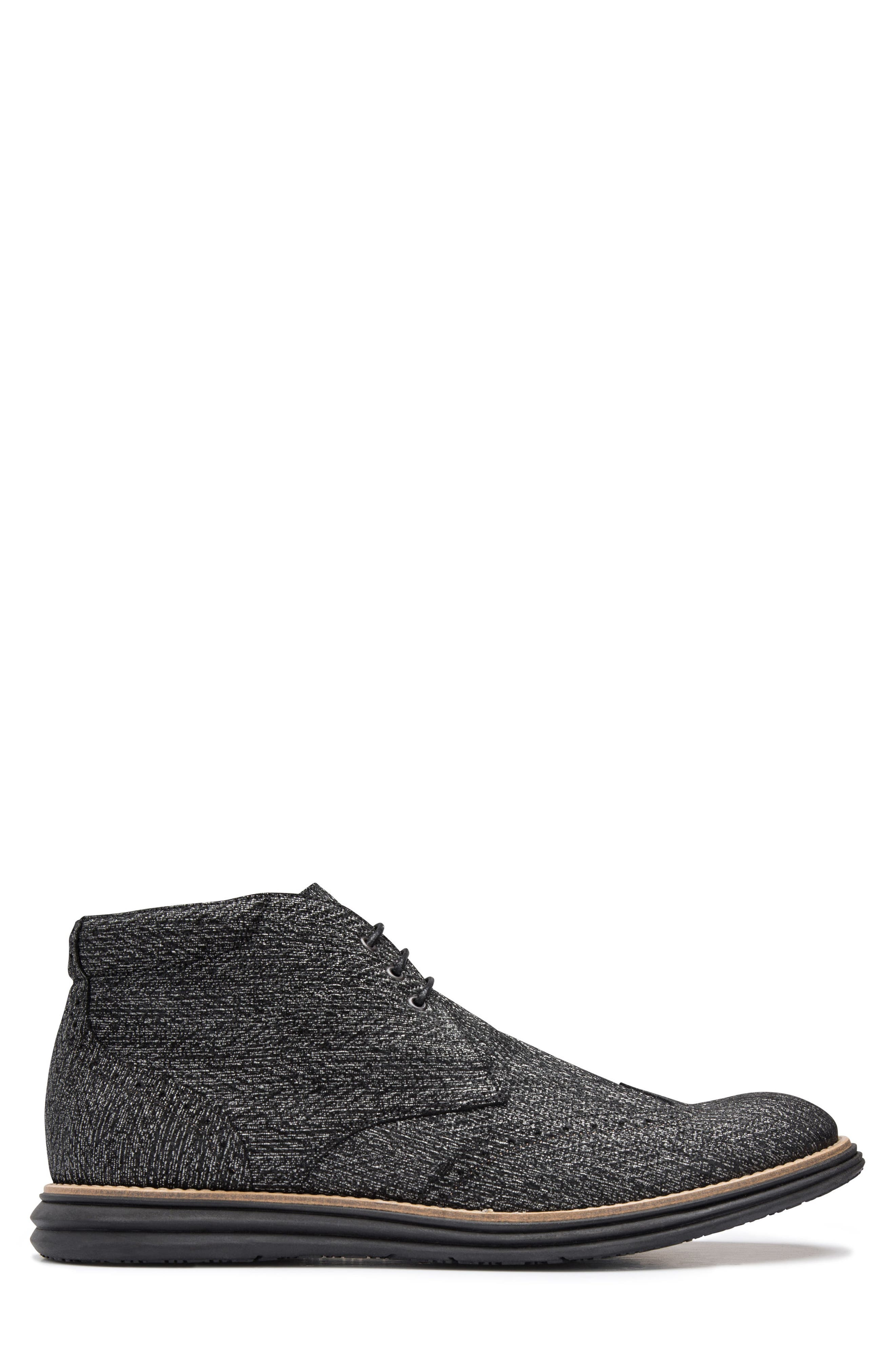Textured Wingtip Chukka Boot,                             Alternate thumbnail 3, color,                             NERO