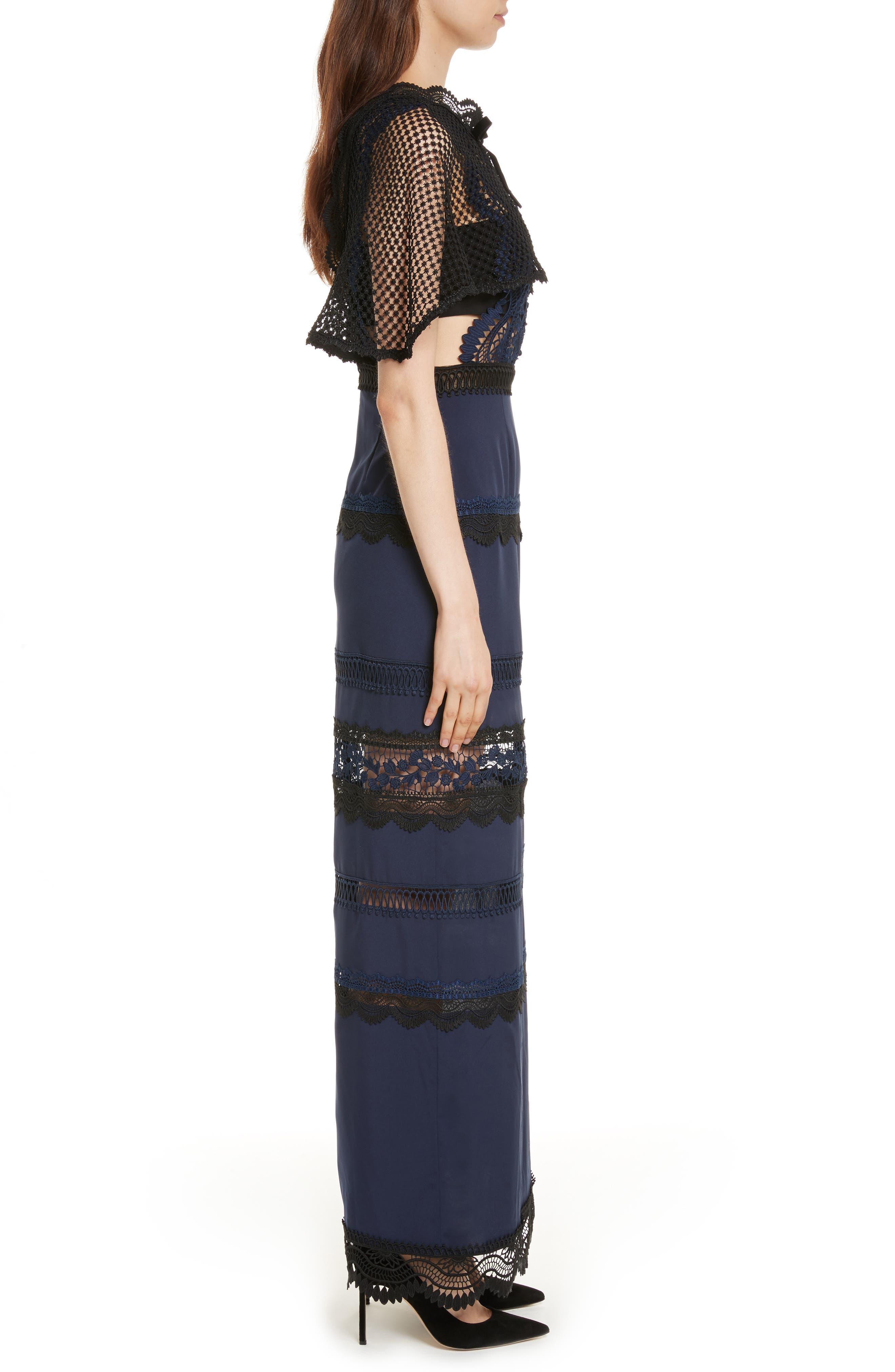 Bellis Lace Cape Maxi Dress,                             Alternate thumbnail 3, color,                             400
