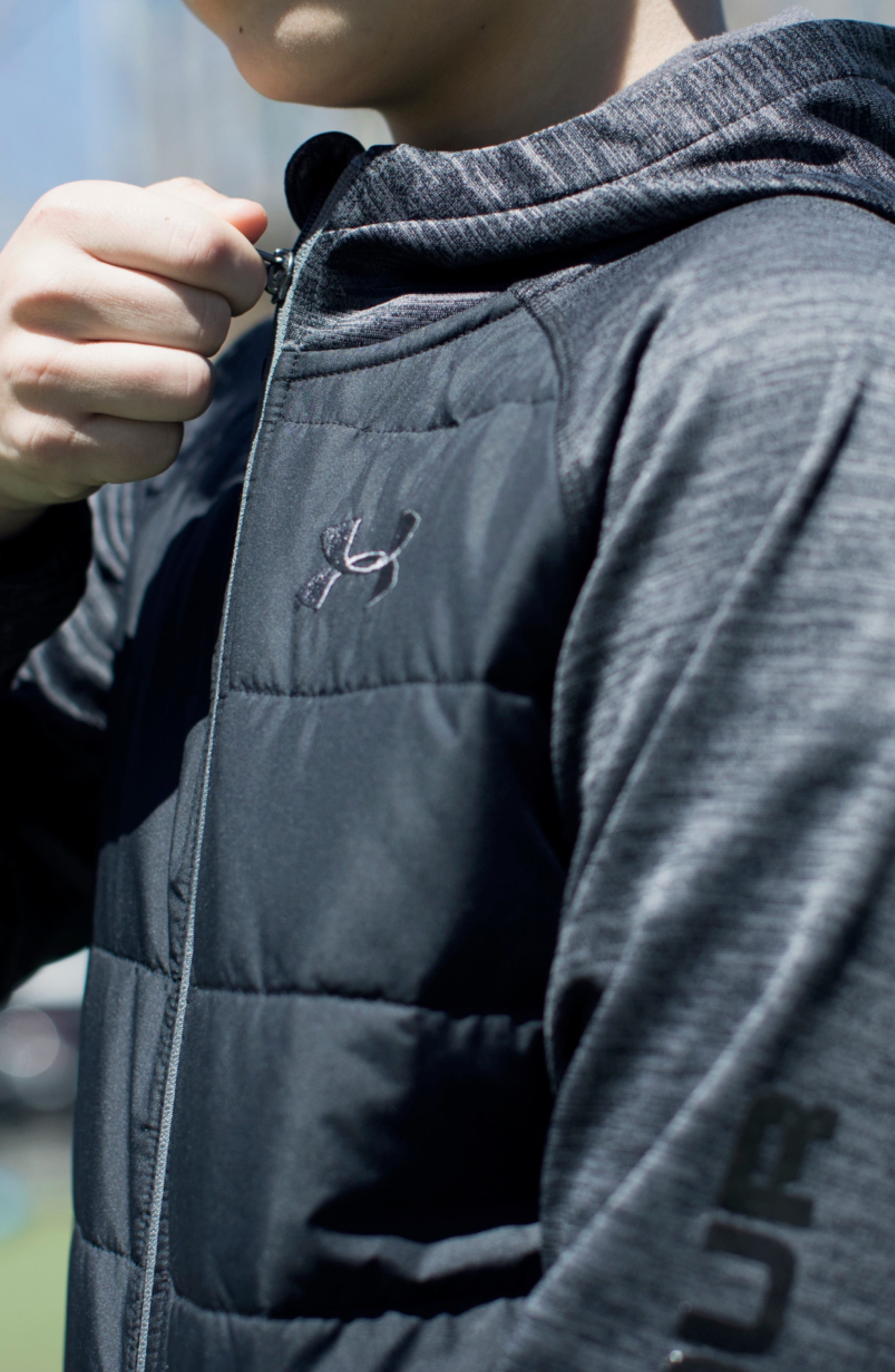 Day Trekker Water Resistant ColdGear<sup>®</sup> Hooded Puffer Jacket,                             Alternate thumbnail 3, color,                             BLACK