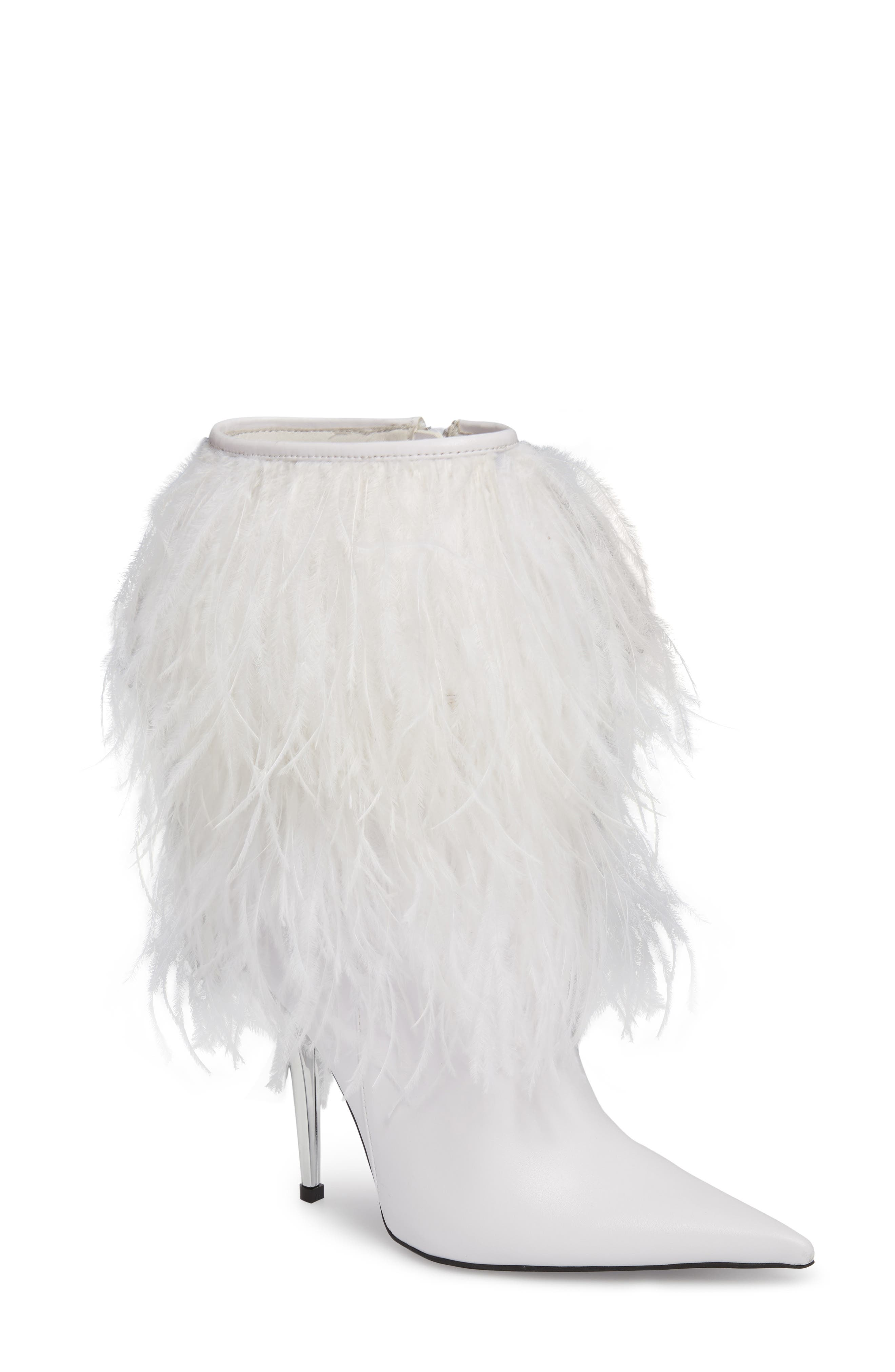 Fly4U Ostrich Feather Bootie,                         Main,                         color, 111