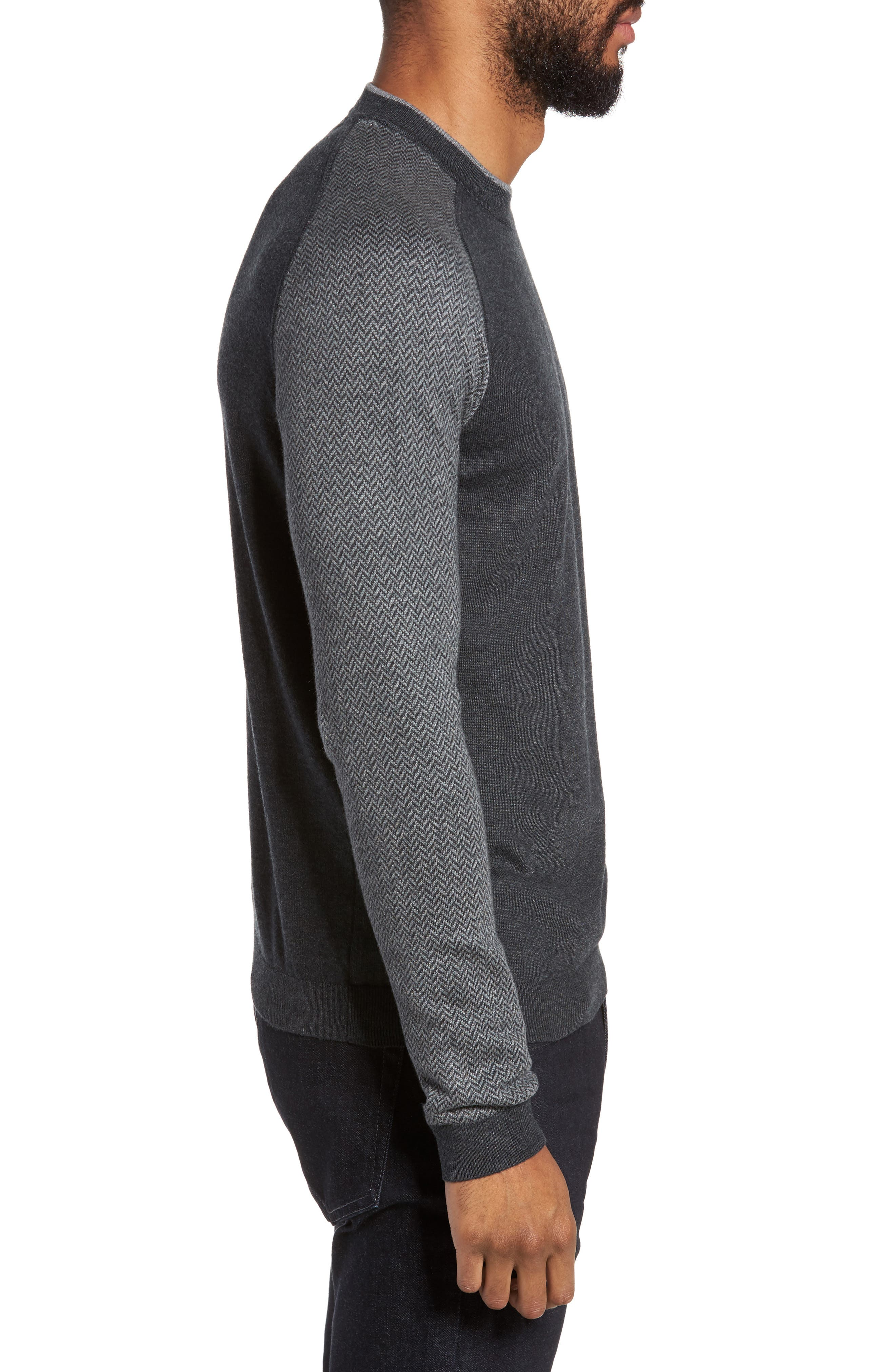 Pepmint Herringbone Sleeve Sweatshirt,                             Alternate thumbnail 5, color,