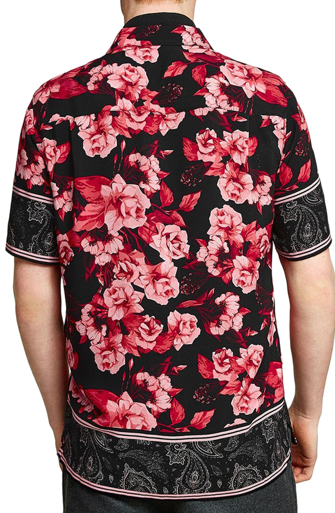TOPMAN,                             Floral Print Shirt,                             Alternate thumbnail 2, color,                             640