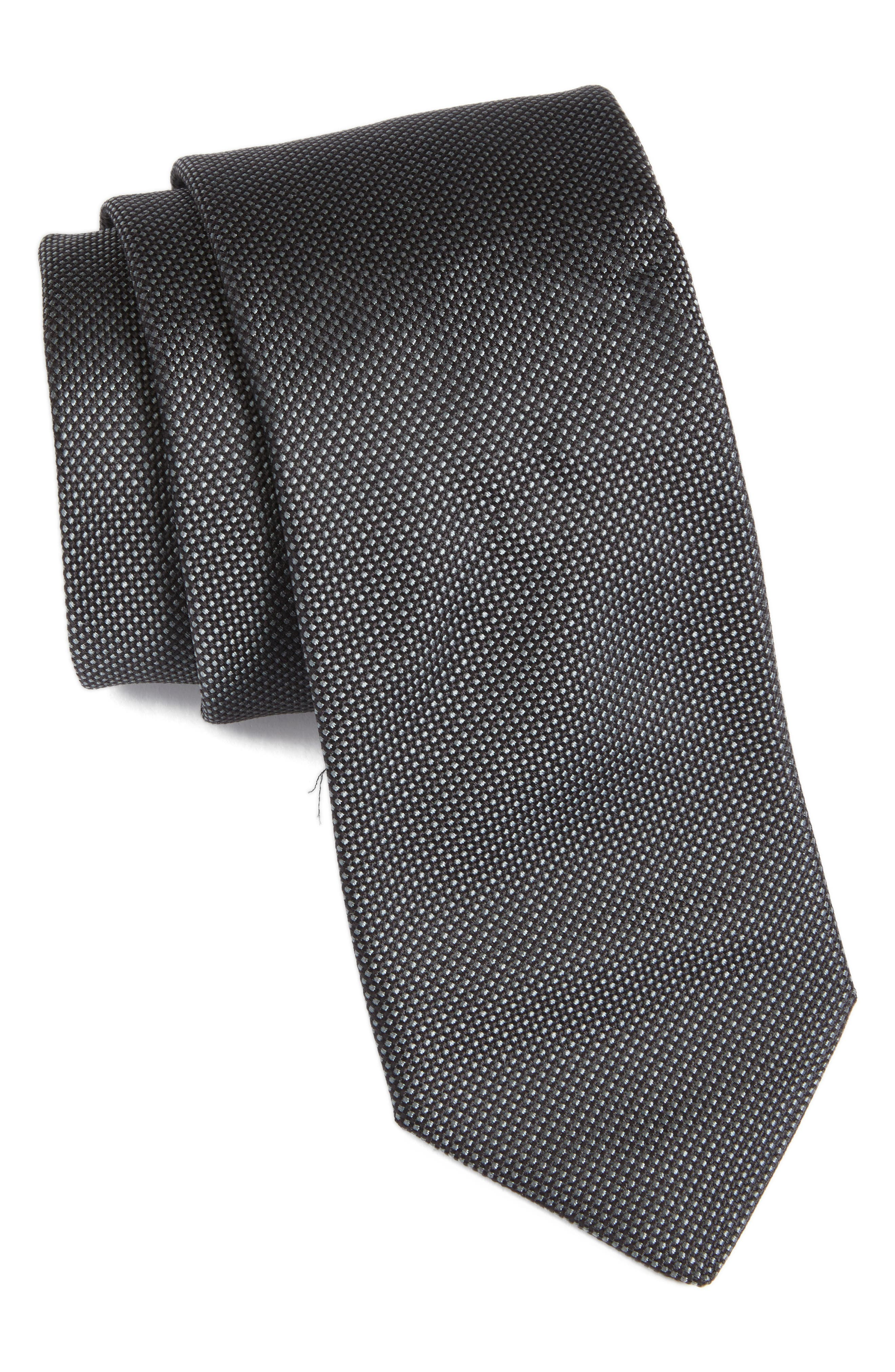 Solid Silk Tie,                         Main,                         color, 001