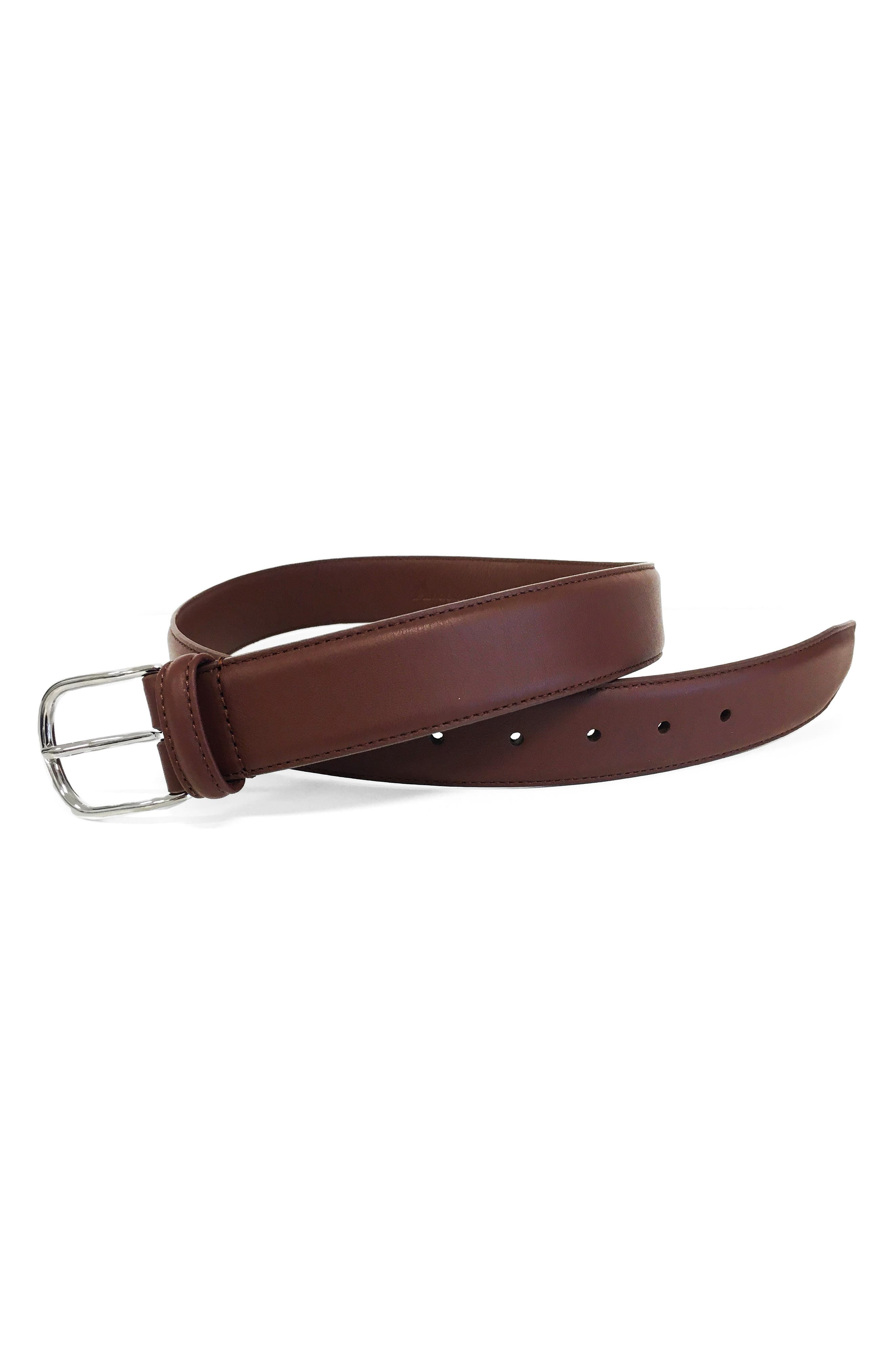 ANDERSONS Leather Belt in Mid Brown