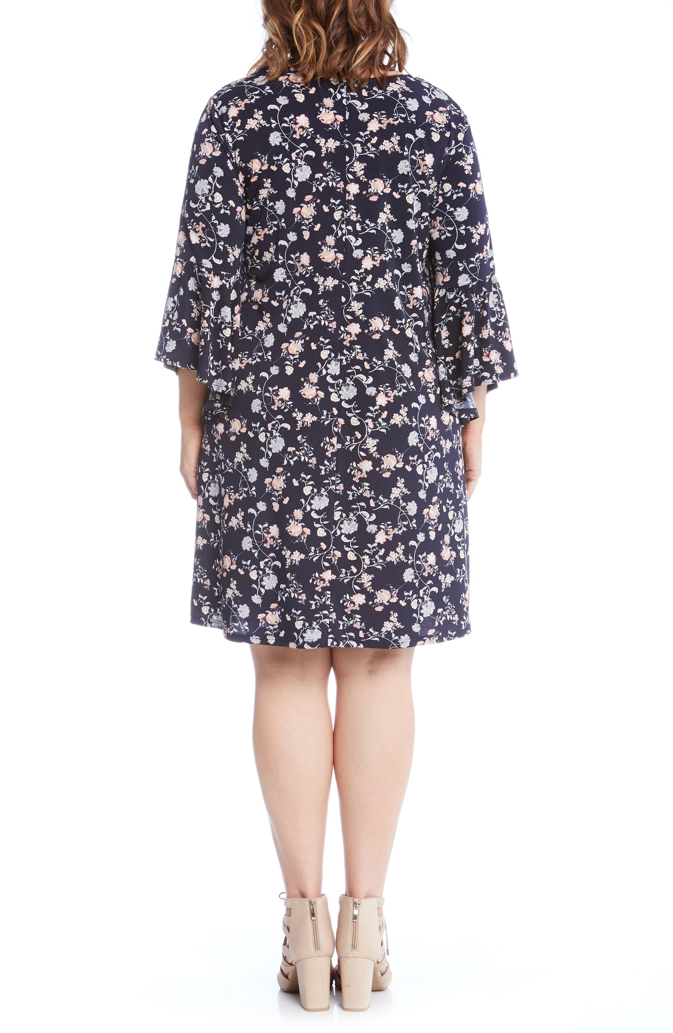 Ruffle Sleeve Floral Shift Dress,                             Main thumbnail 1, color,                             460