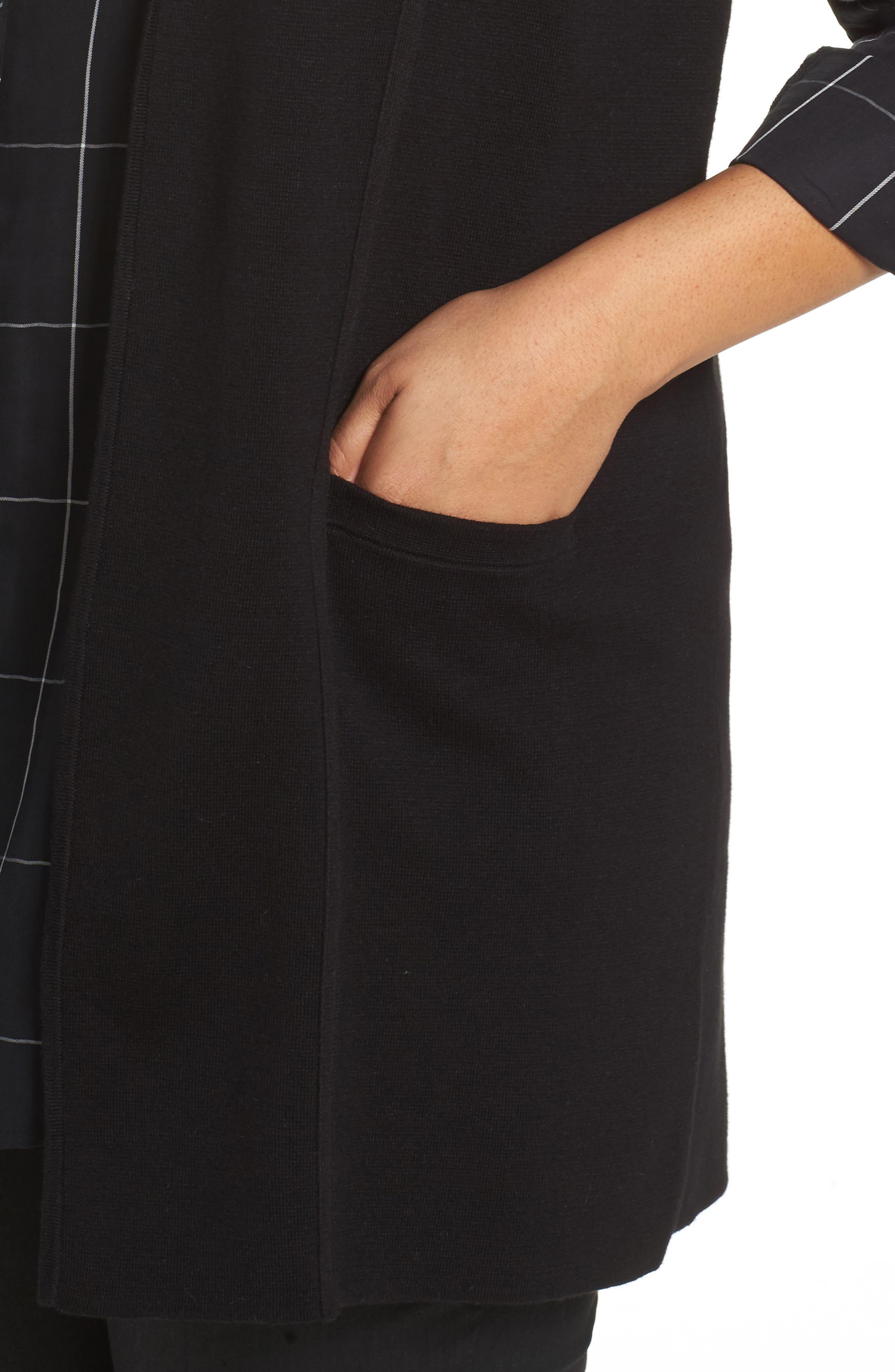 Jodi Longline Sweater Vest,                             Alternate thumbnail 4, color,                             BLACK