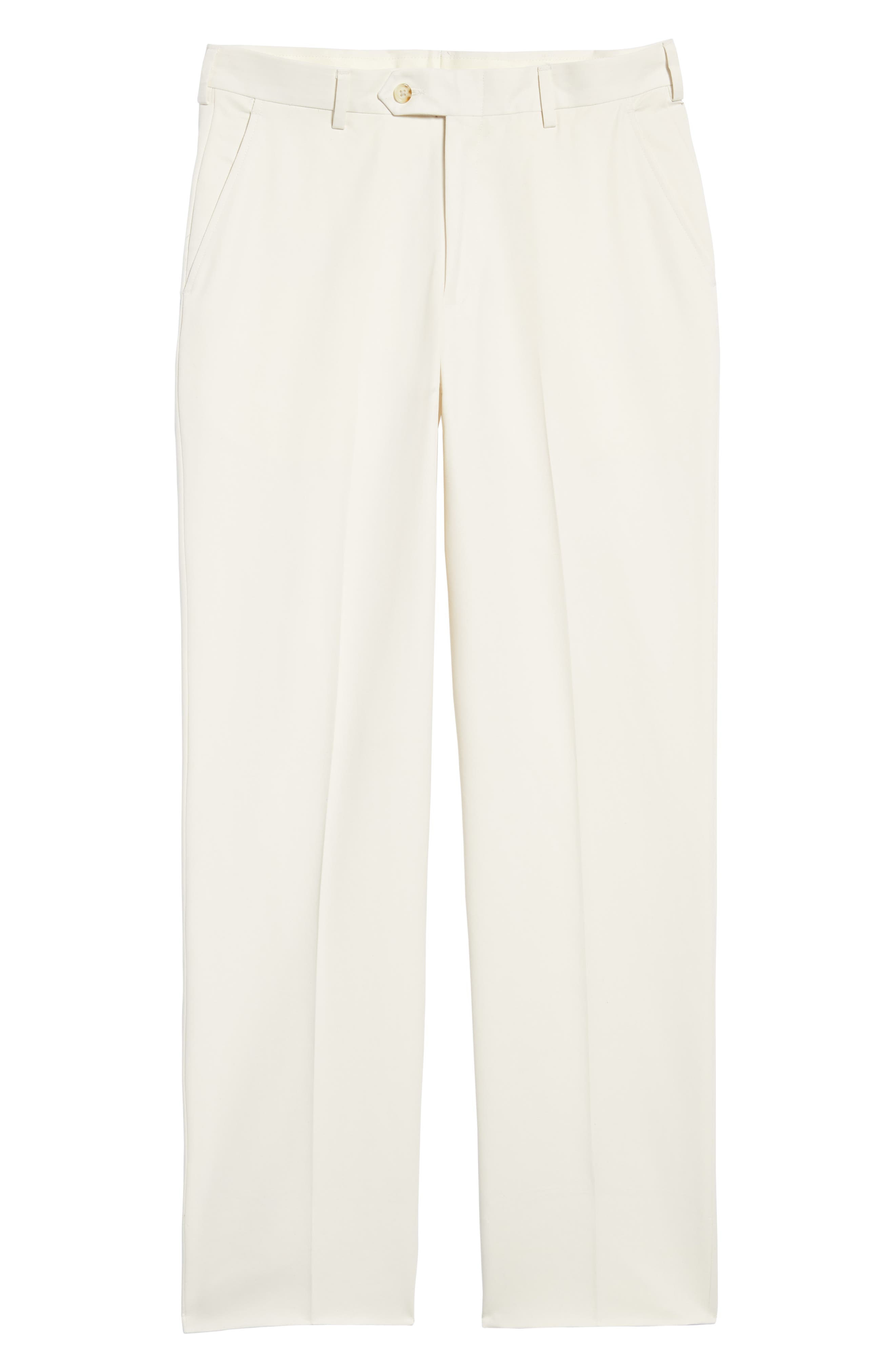 Classic Fit Flat Front Microfiber Performance Trousers,                             Alternate thumbnail 6, color,                             OFF WHITE