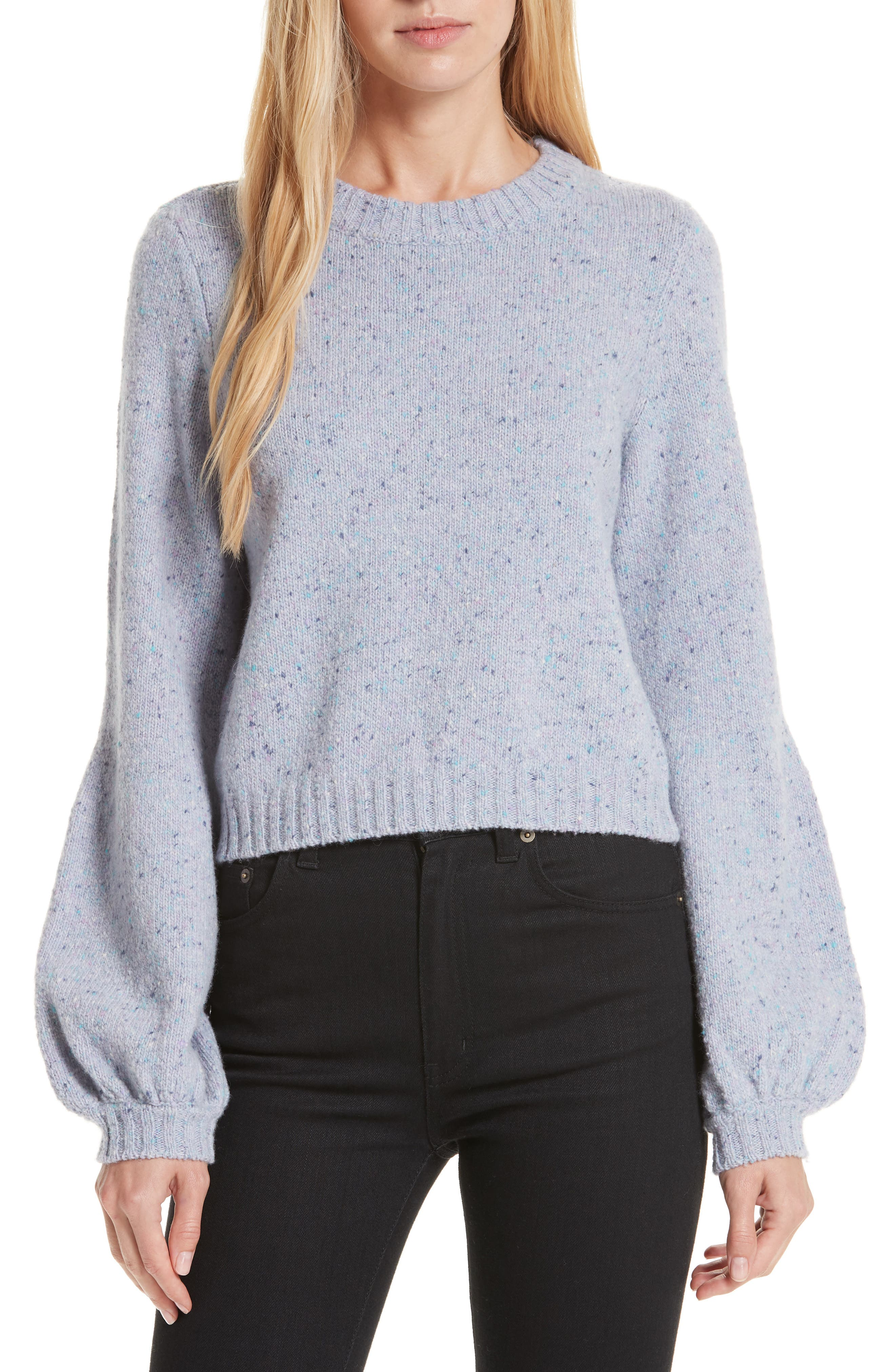 Bell Sleeve Wool Blend Sweater, Main, color, BABY BLUE