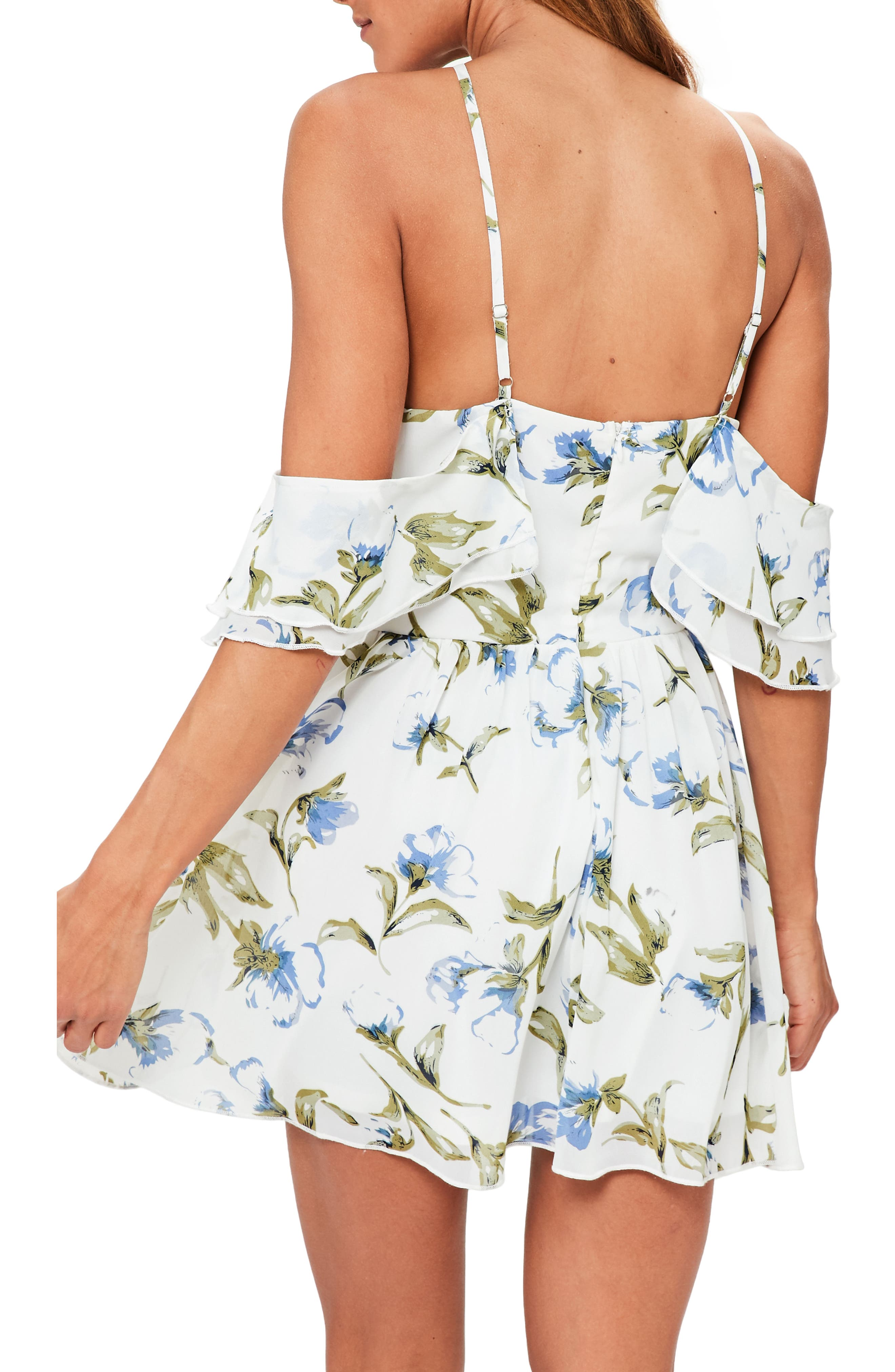 Floral Off the Shoulder Minidress,                             Alternate thumbnail 2, color,                             100