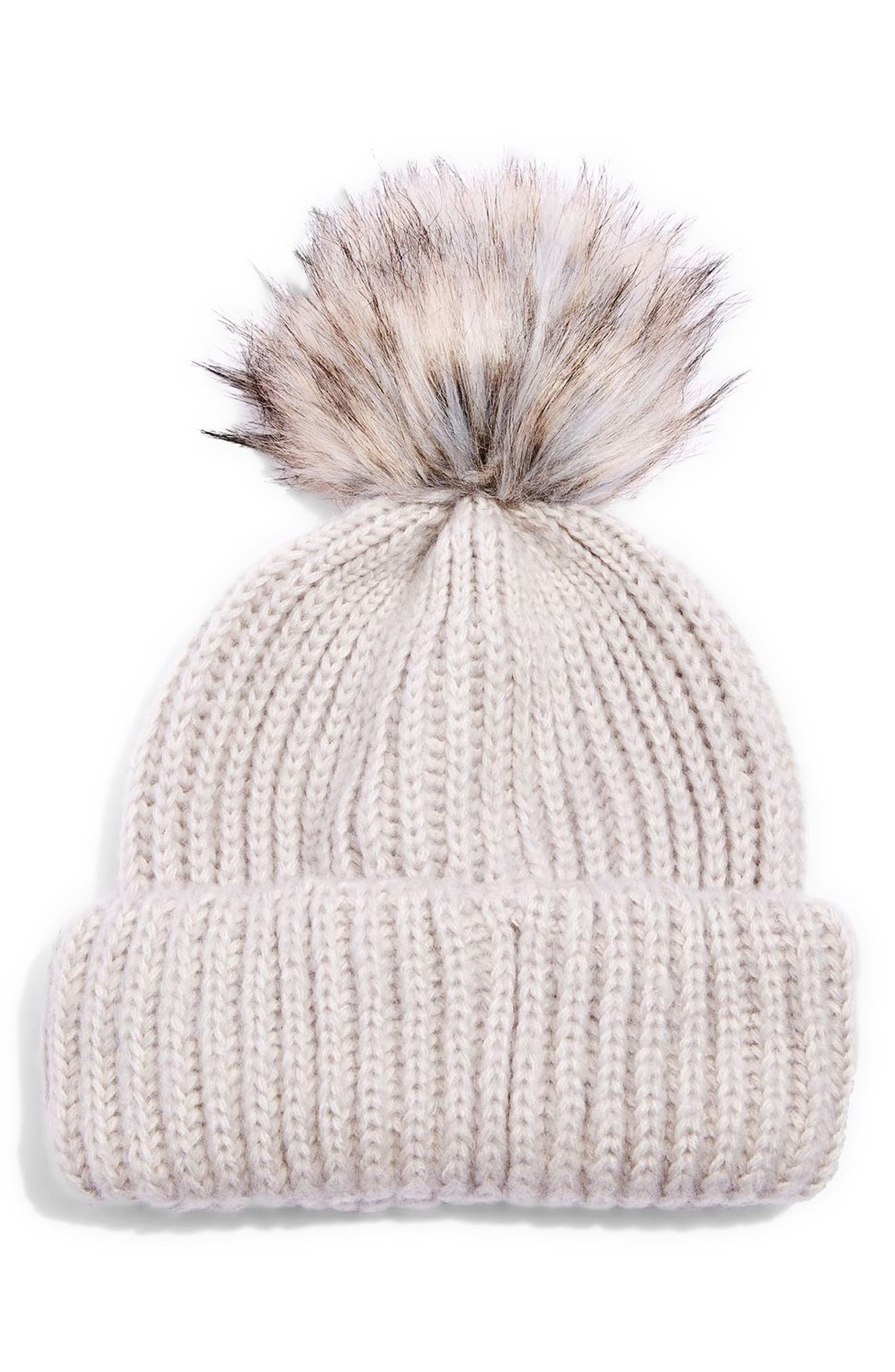 Faux Fur Pompom Beanie,                             Main thumbnail 1, color,