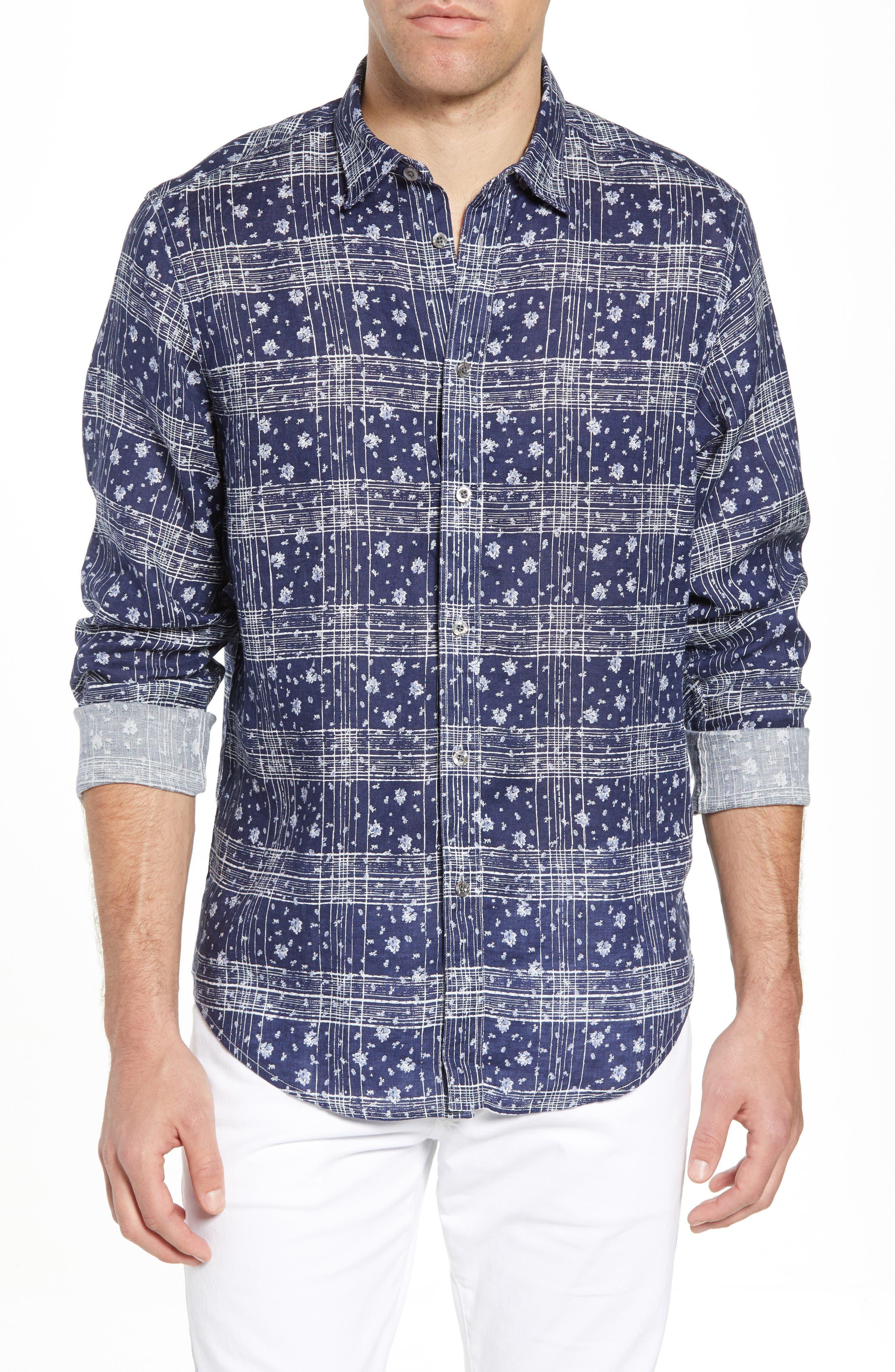 Gustavo Regular Fit Plaid Linen Sport Shirt,                         Main,                         color, OCEAN