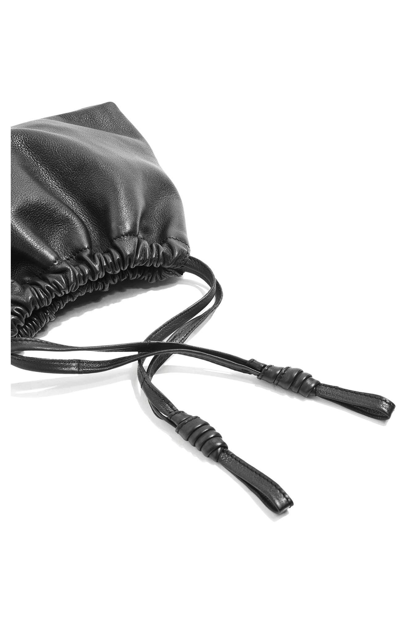 Premium Leather Drawstring Crossbody Bag,                             Alternate thumbnail 3, color,                             001