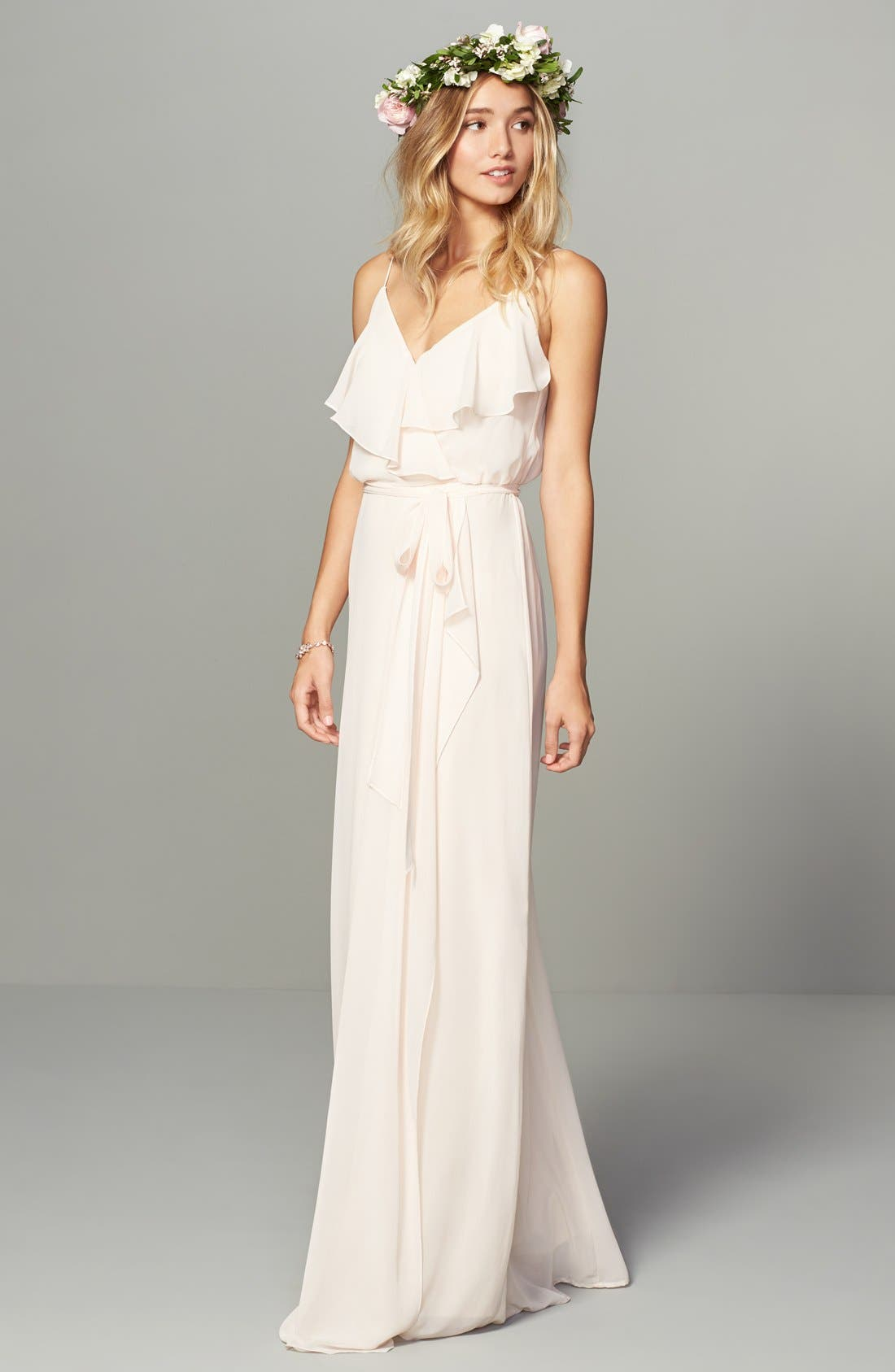'Drew' Ruffle Front Chiffon Gown,                             Alternate thumbnail 46, color,