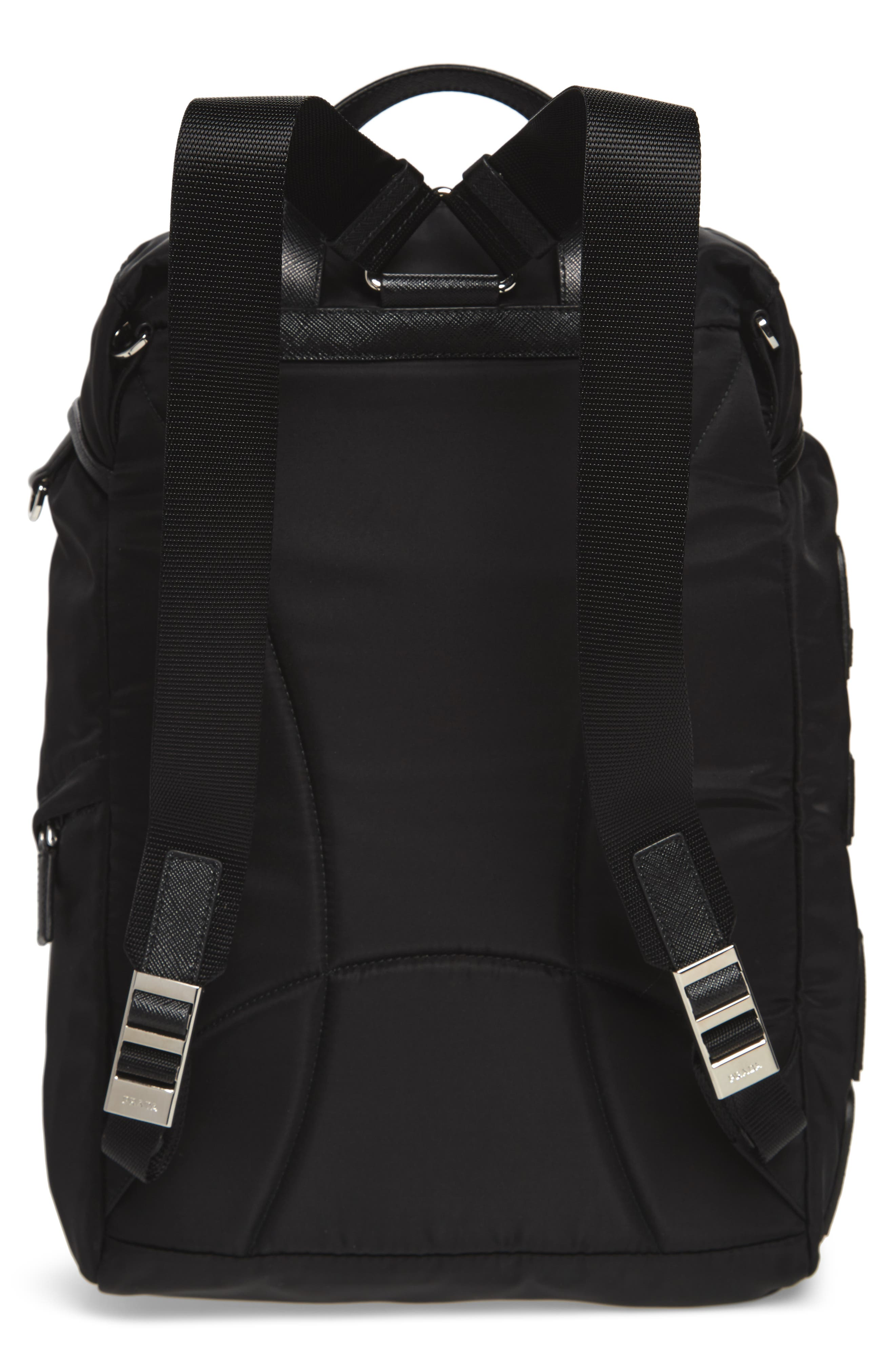 PRADA,                             Tessuto Lettering Unisex Nylon Backpack,                             Alternate thumbnail 3, color,                             001