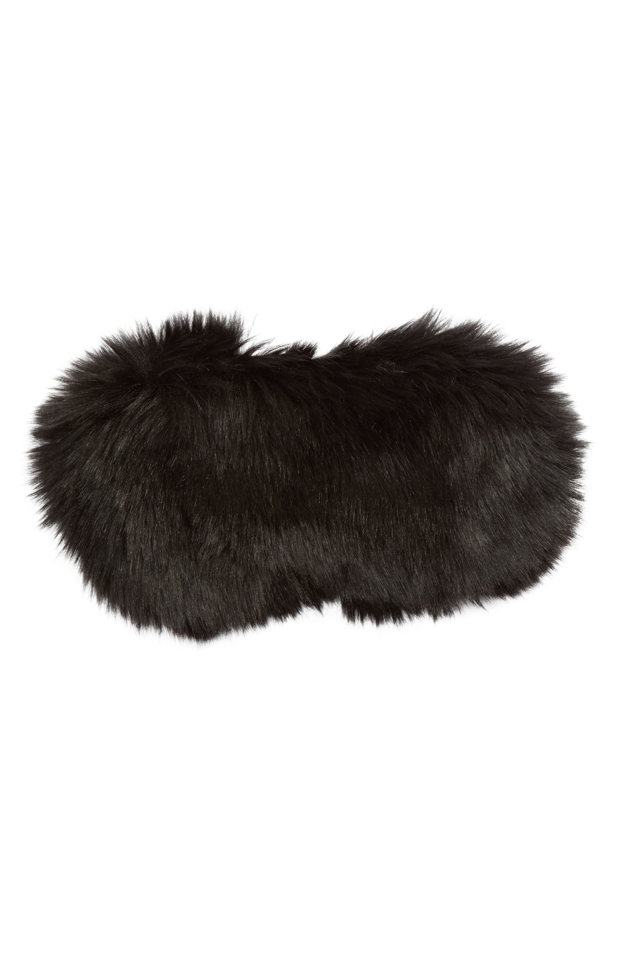 Nordstrom Faux Fur Eye Mask,                             Main thumbnail 1, color,                             001