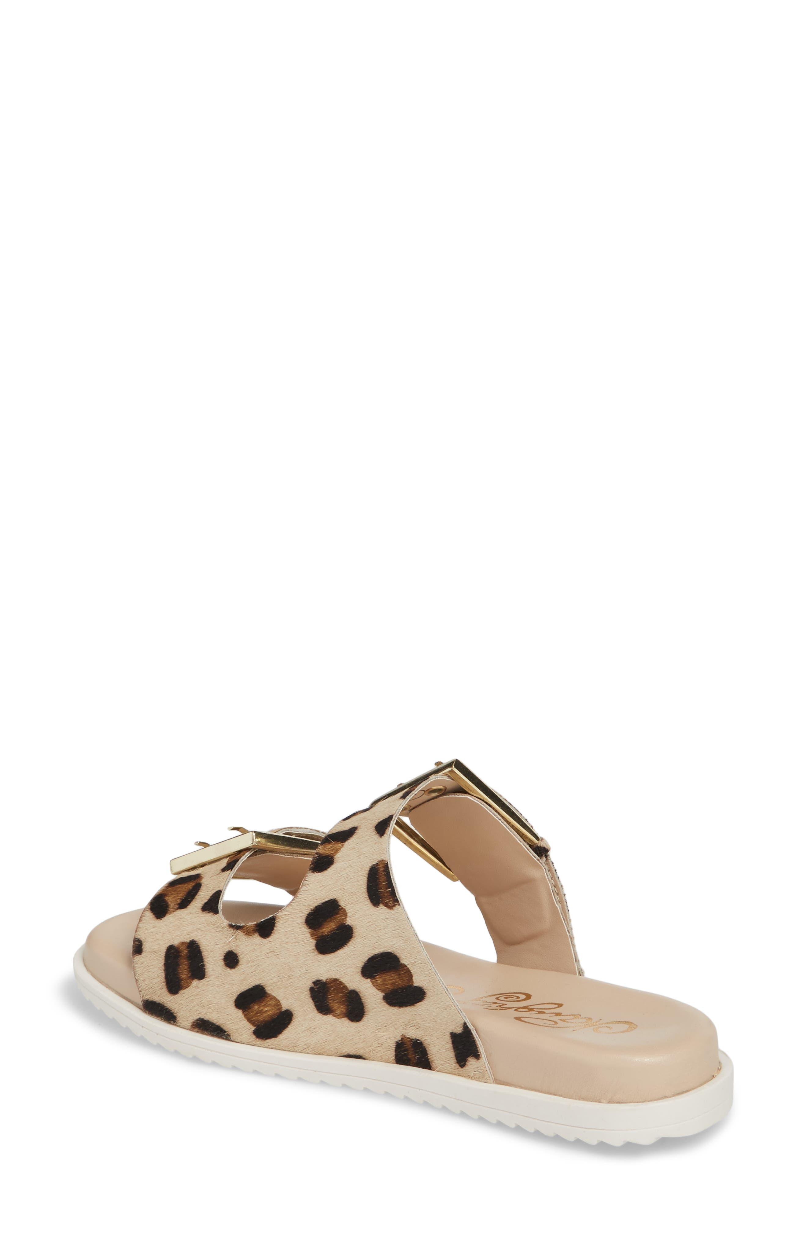 Genuine Calf Hair Double Strap Sandal,                             Alternate thumbnail 4, color,