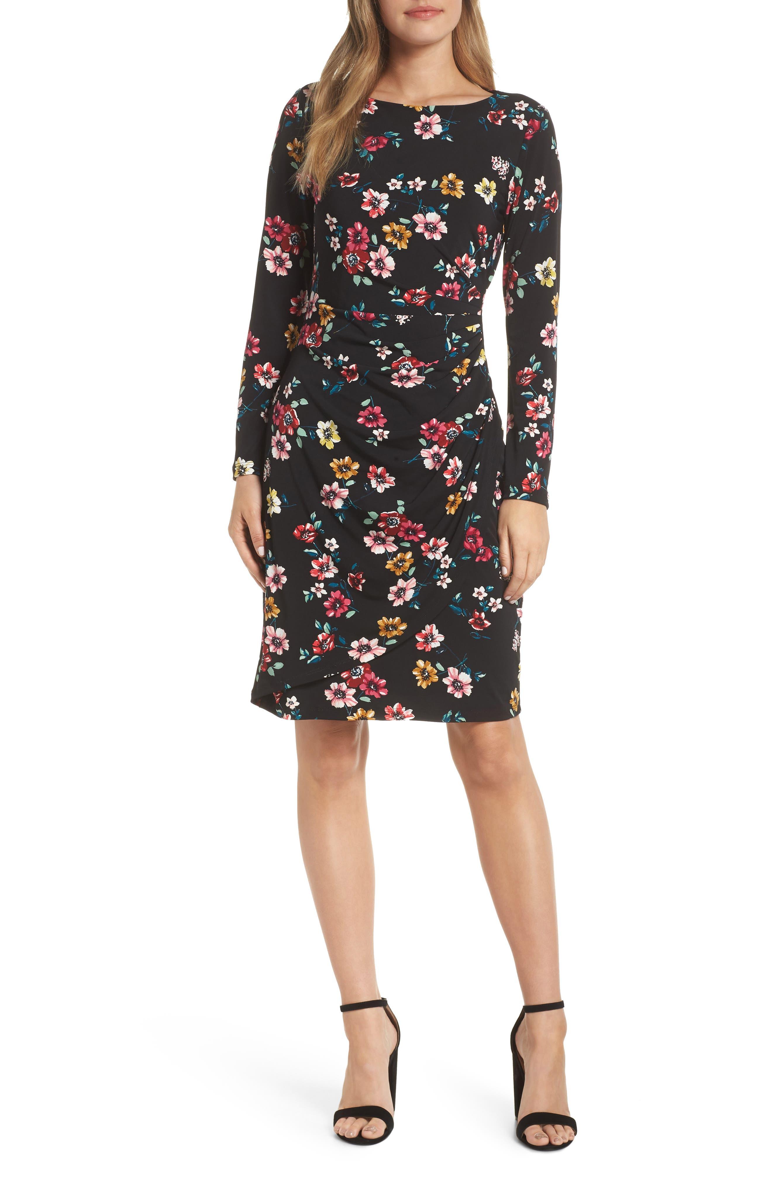Eliza J Floral Sheath Dress, Black