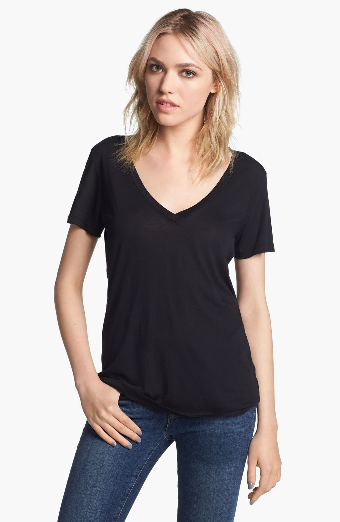 Jersey V-Neck Tee, Main, color, 001