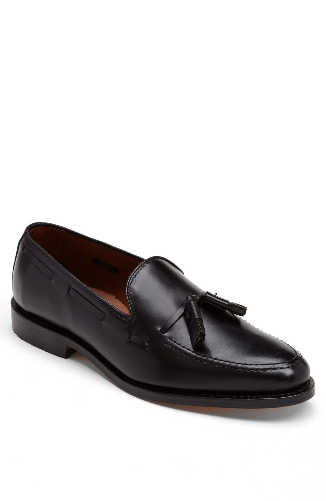 'Grayson' Tassel Loafer,                         Main,                         color, Black Leather