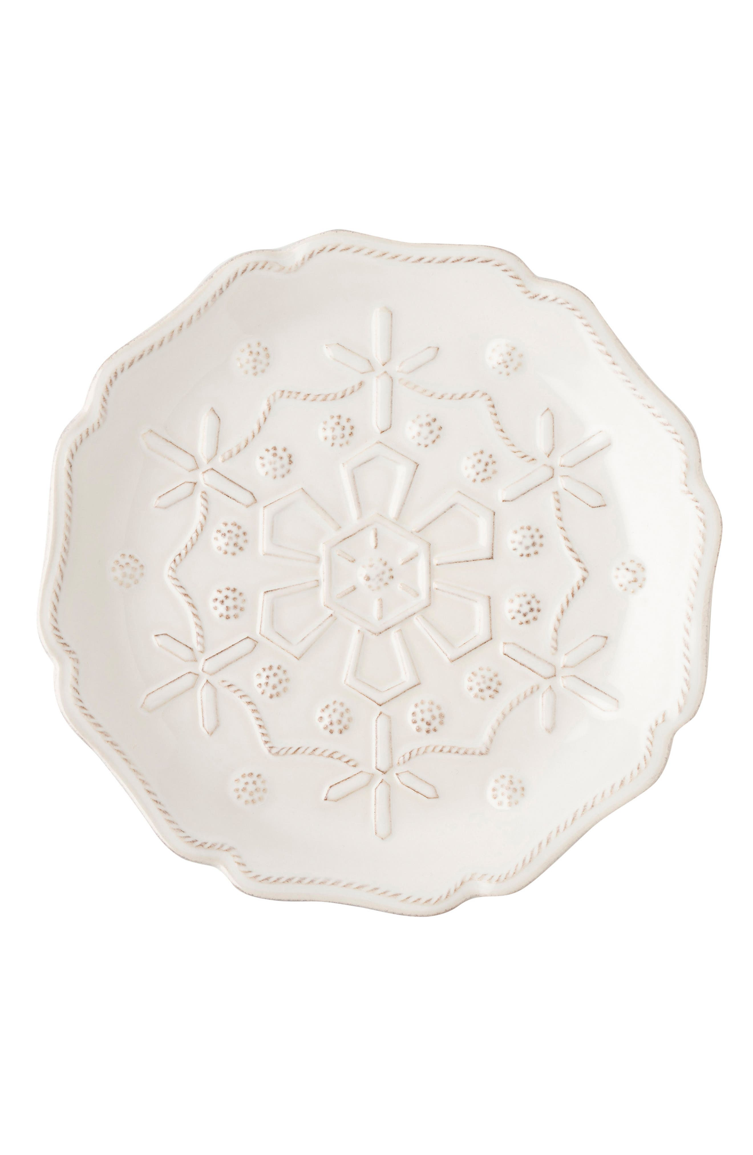 Snowfall Whitewash Set of 4 Ceramic Tidbit Plates,                             Alternate thumbnail 5, color,                             100