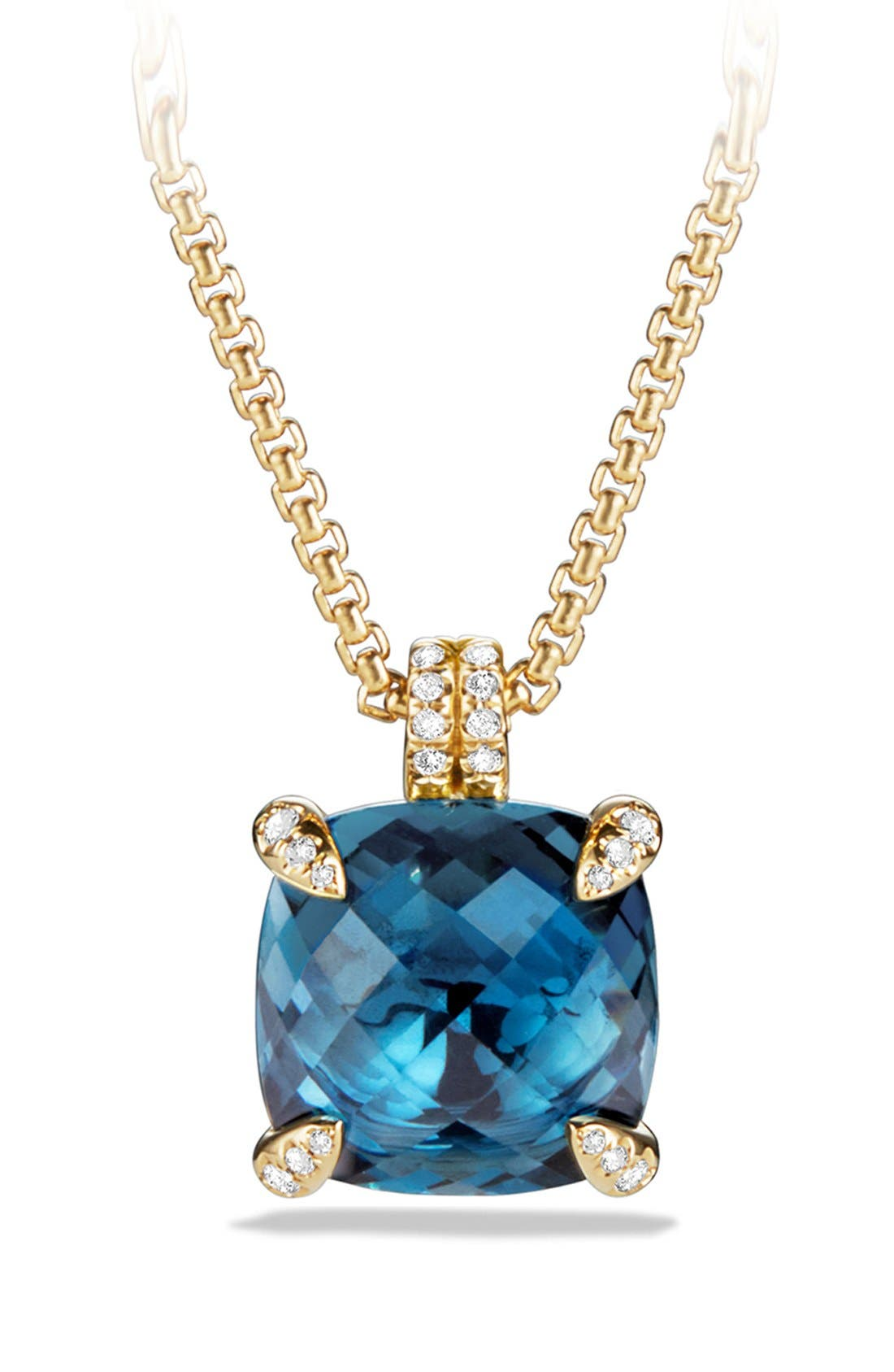 'Châtelaine' Pendant Necklace with Diamonds in 18K Gold,                             Main thumbnail 1, color,                             HAMPTON BLUE TOPAZ