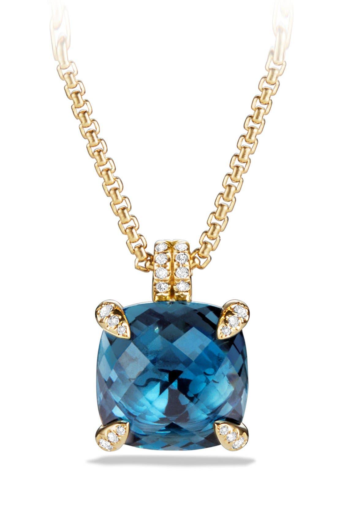 'Châtelaine' Pendant Necklace with Diamonds in 18K Gold,                         Main,                         color, HAMPTON BLUE TOPAZ