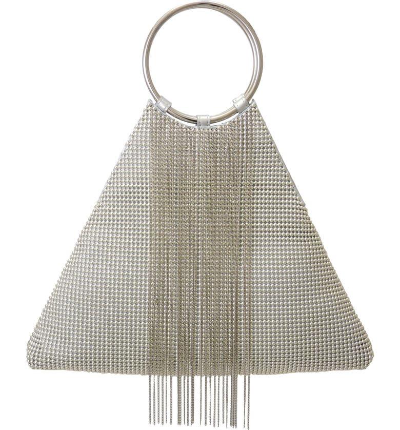 Whiting & Davis CASCADE FRINGE TRIANGLE BRACELET BAG - METALLIC