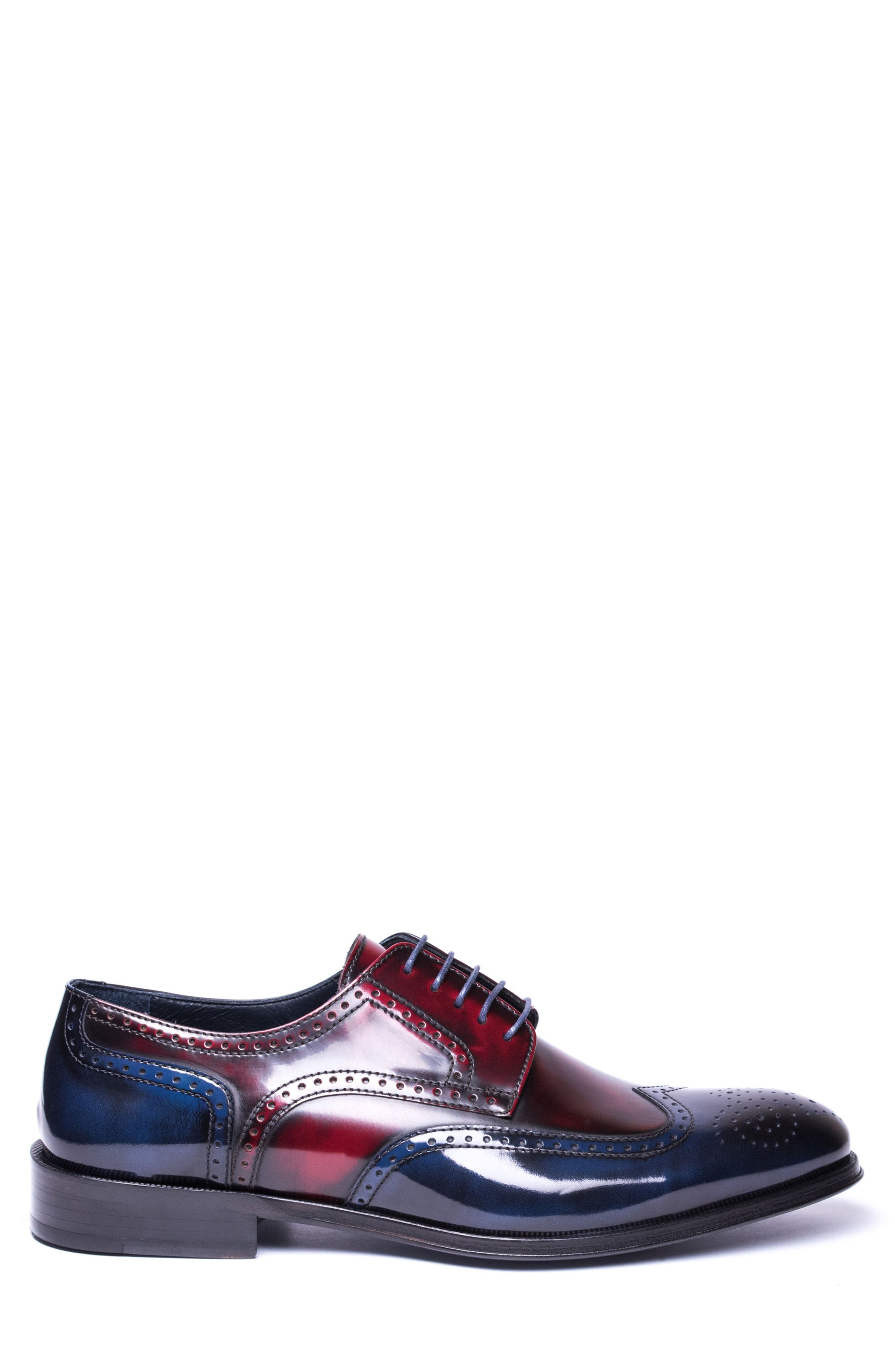 Bryce Wingtip Derby,                             Alternate thumbnail 3, color,                             RED/ BLUE LEATHER