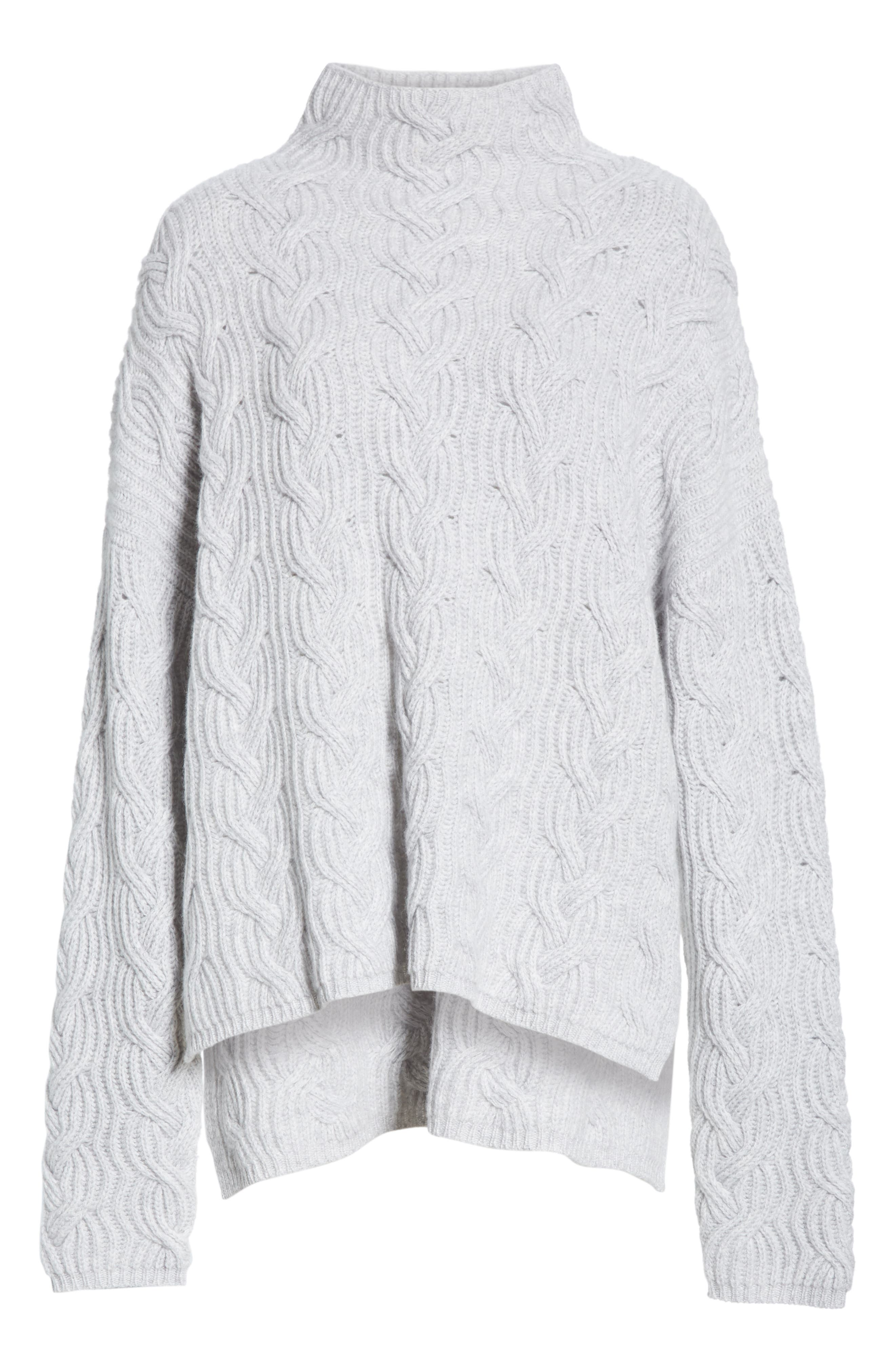 Cable Cashmere Knit Sweater,                             Alternate thumbnail 6, color,                             050