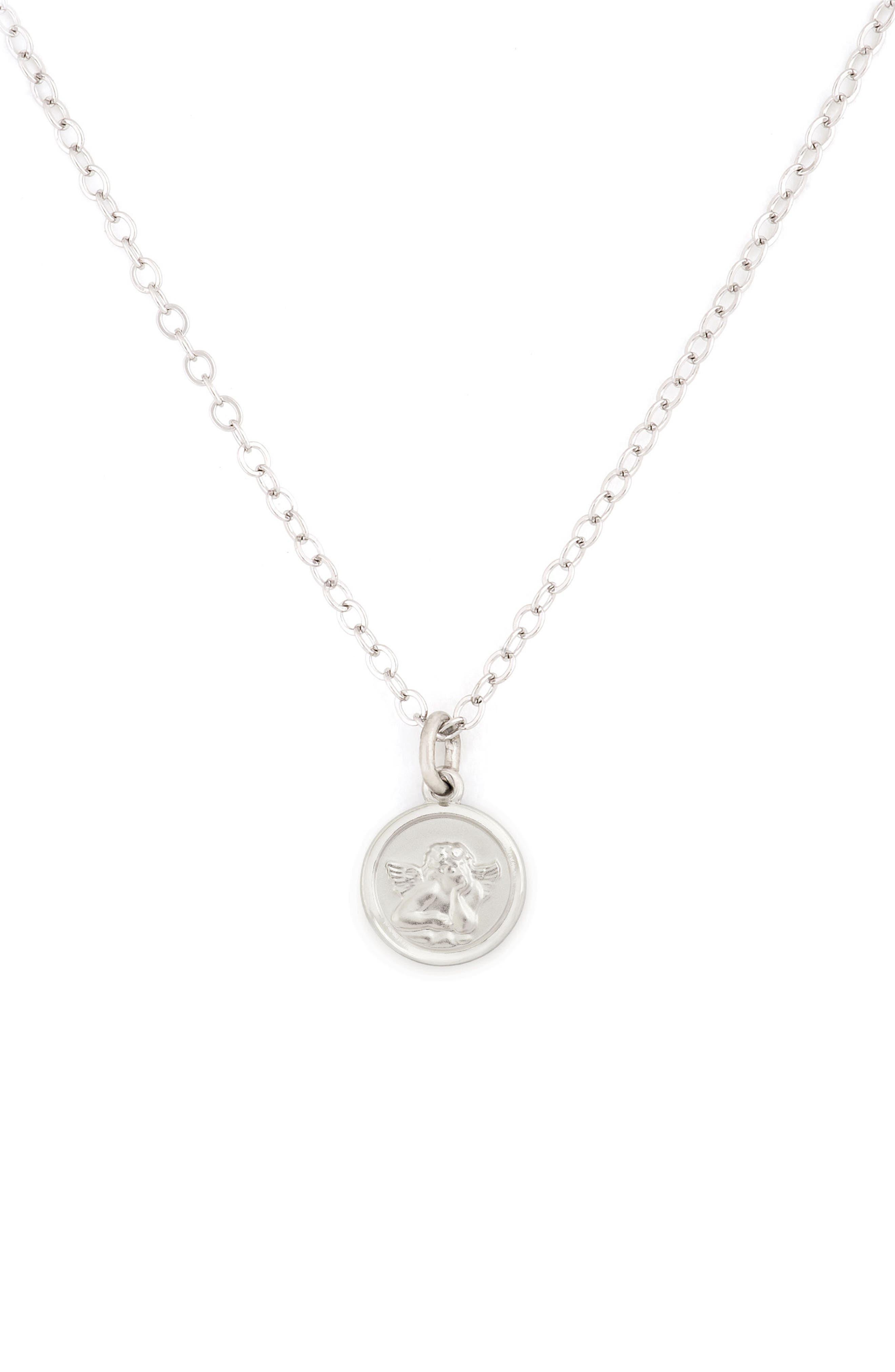 Cherub Medal Sterling Silver Pendant Necklace,                             Main thumbnail 1, color,                             040
